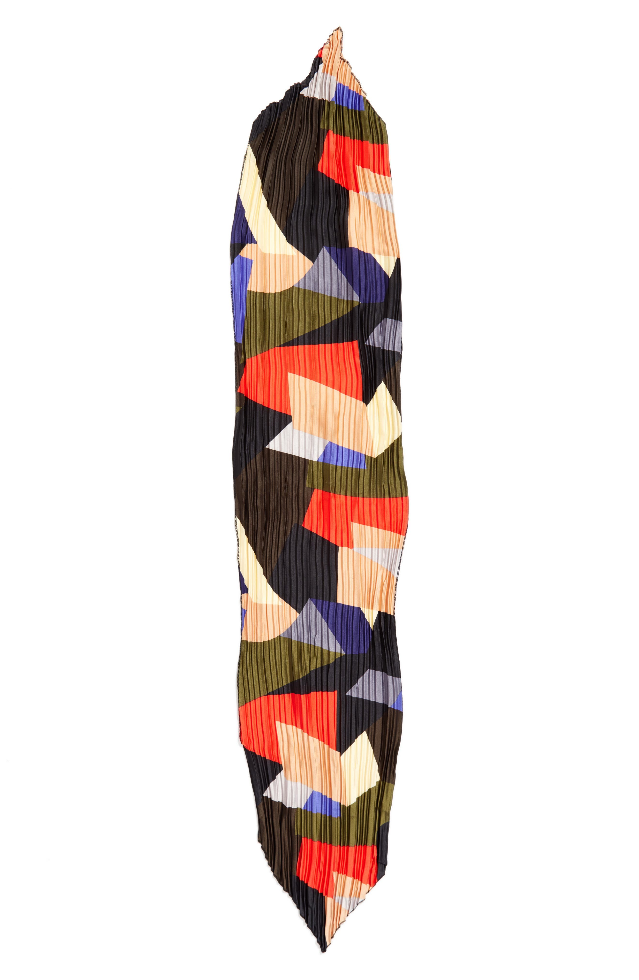 Pleated Skinny Scarf,                             Alternate thumbnail 3, color,                             001