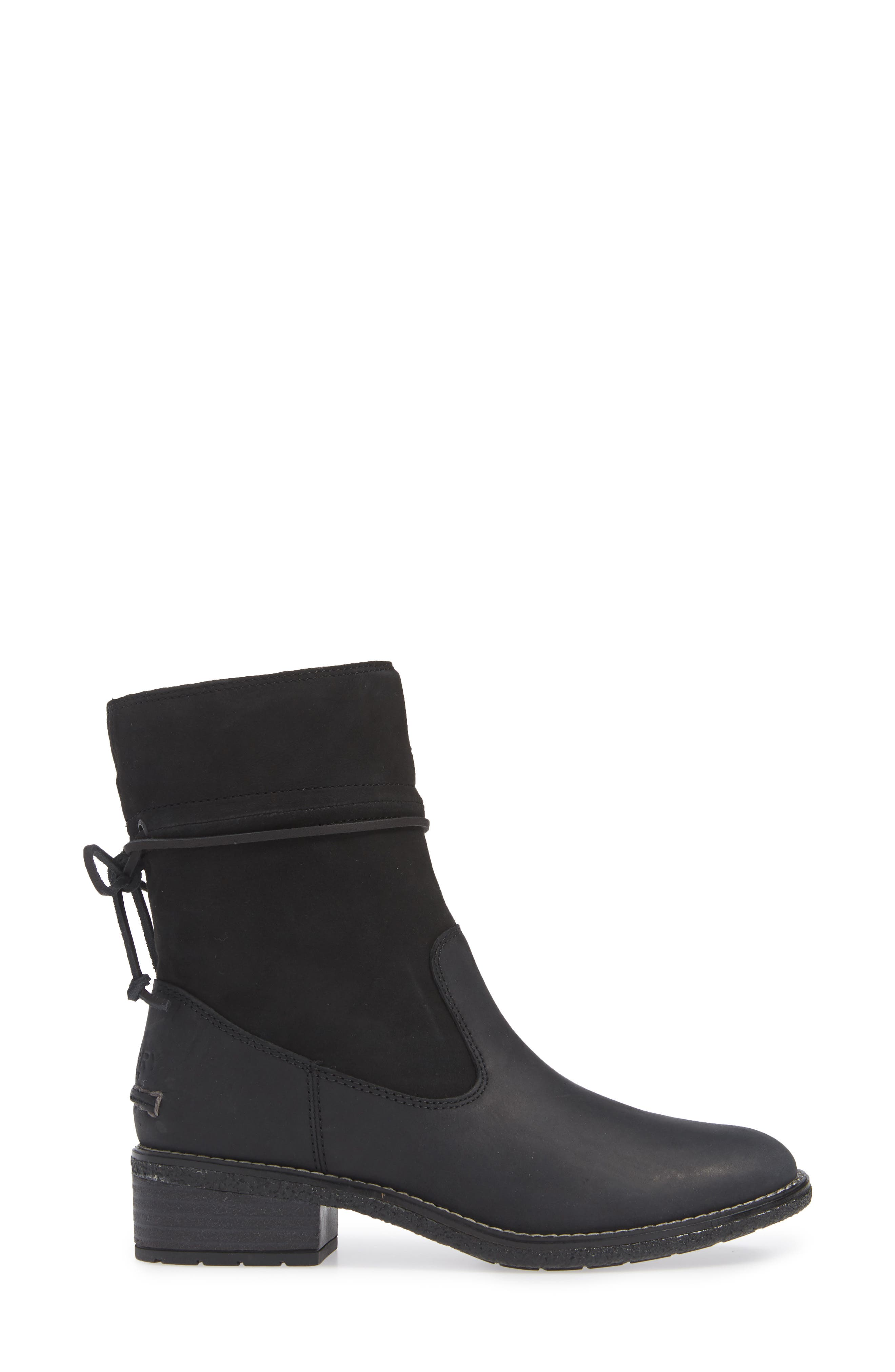Maya Ronan Bootie,                             Alternate thumbnail 3, color,                             BLACK SUEDE/ LEATHER
