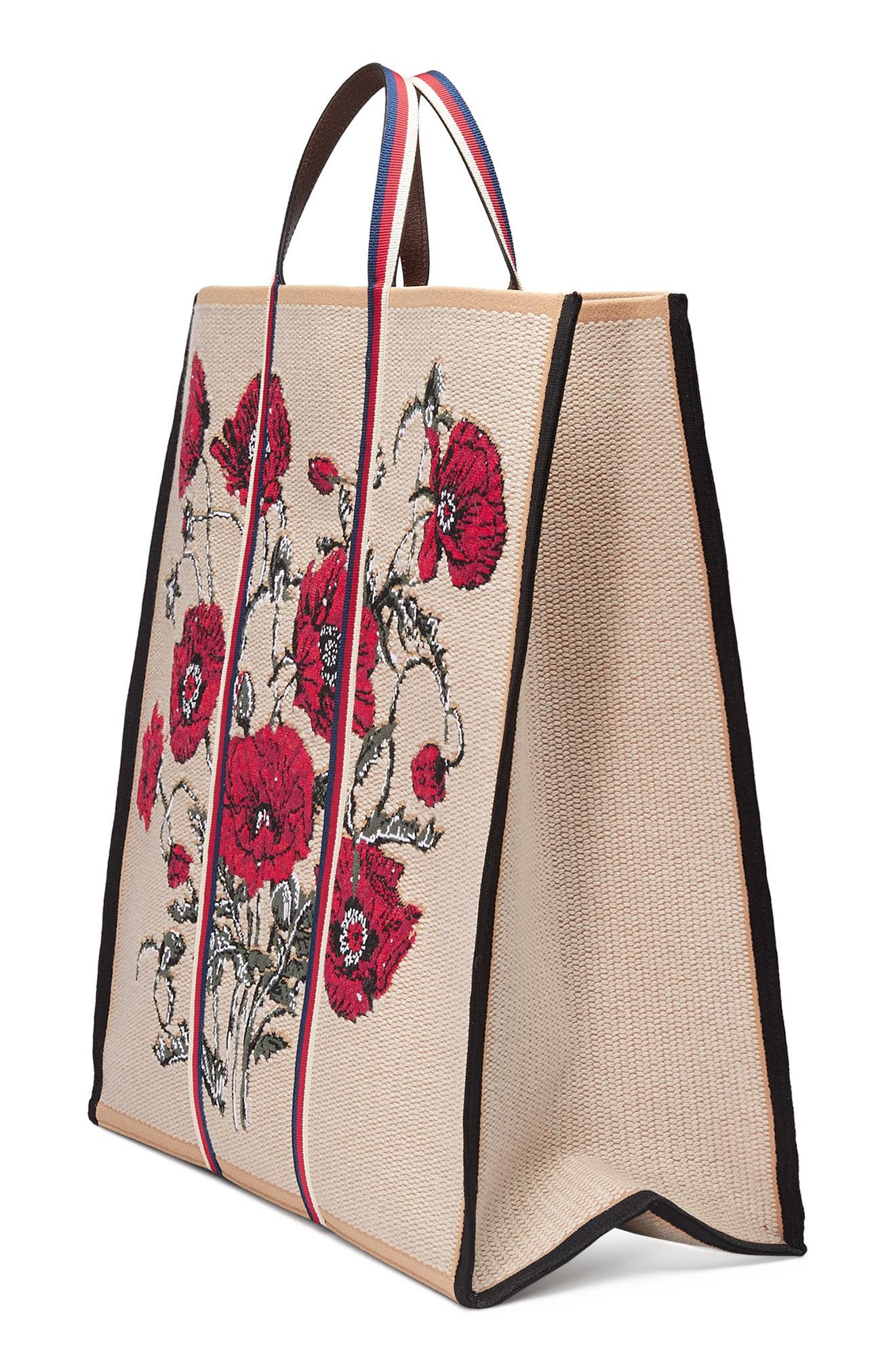 Embroidered Poppies Canvas Top Handle Tote,                             Alternate thumbnail 4, color,                             136