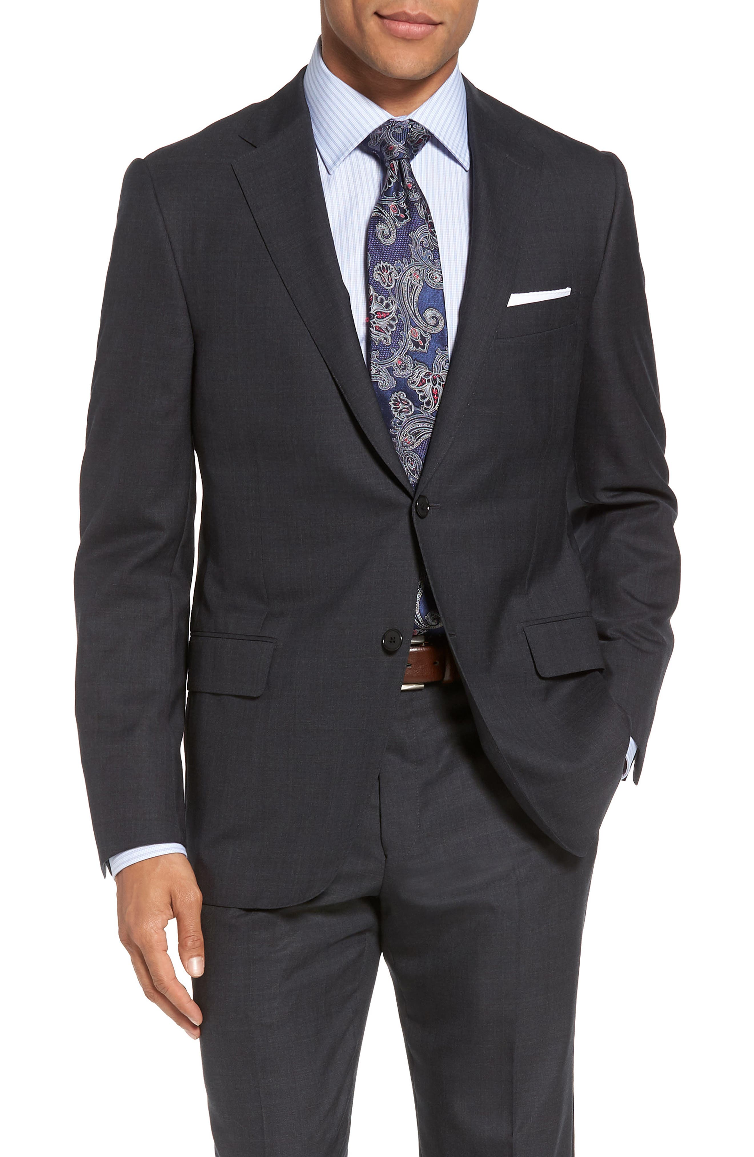 Classic B Fit Check Wool Suit,                             Alternate thumbnail 5, color,                             099
