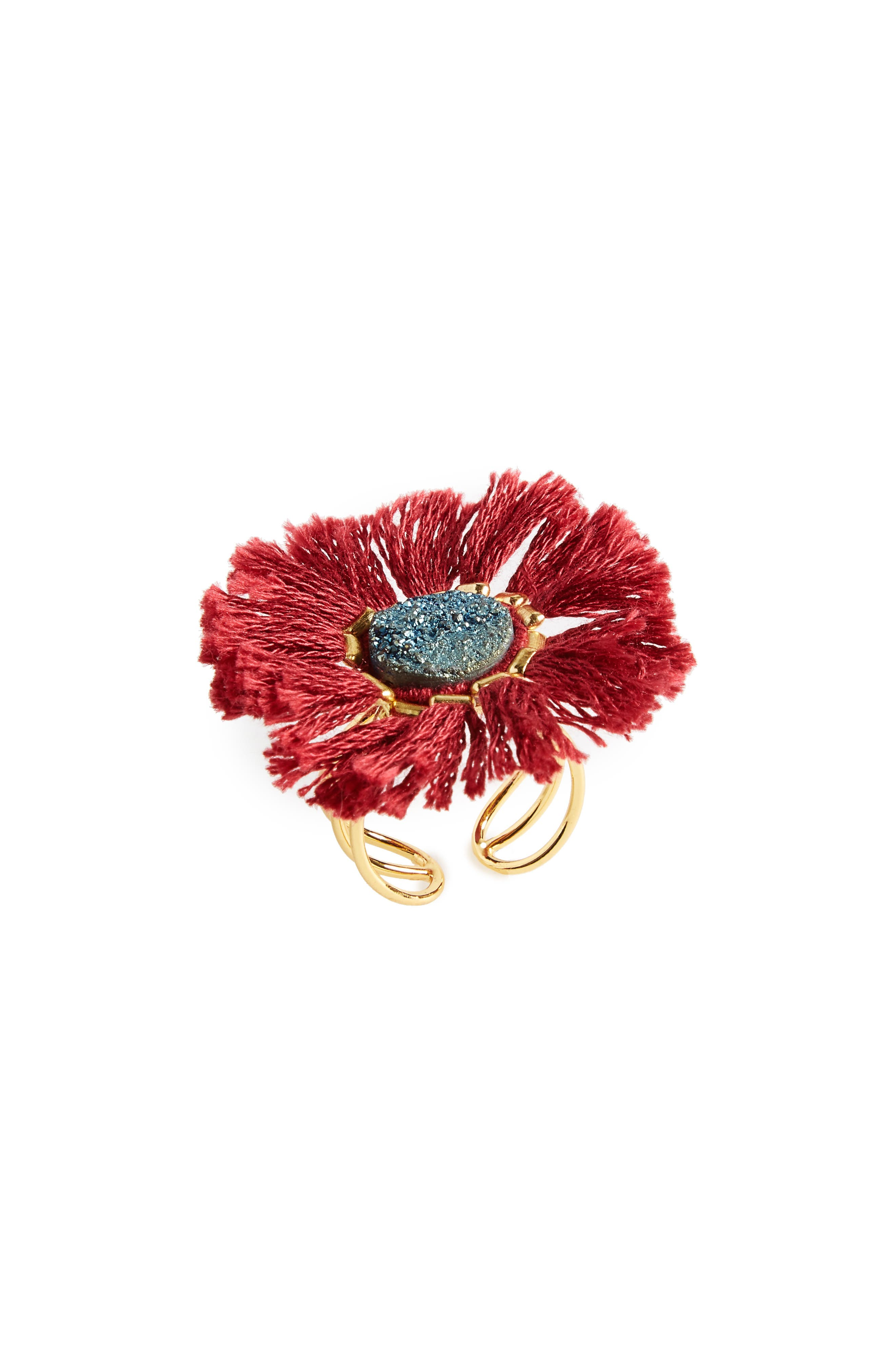 Drusy & Fringe Ring,                         Main,                         color,