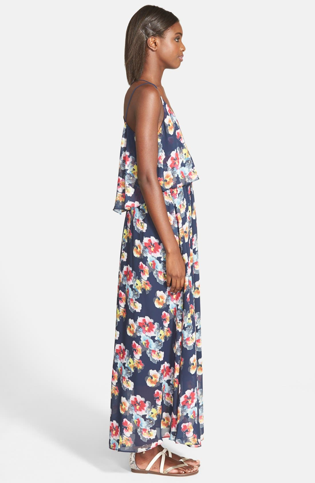 'Bonnie' Floral Maxi Dress,                             Alternate thumbnail 3, color,                             415