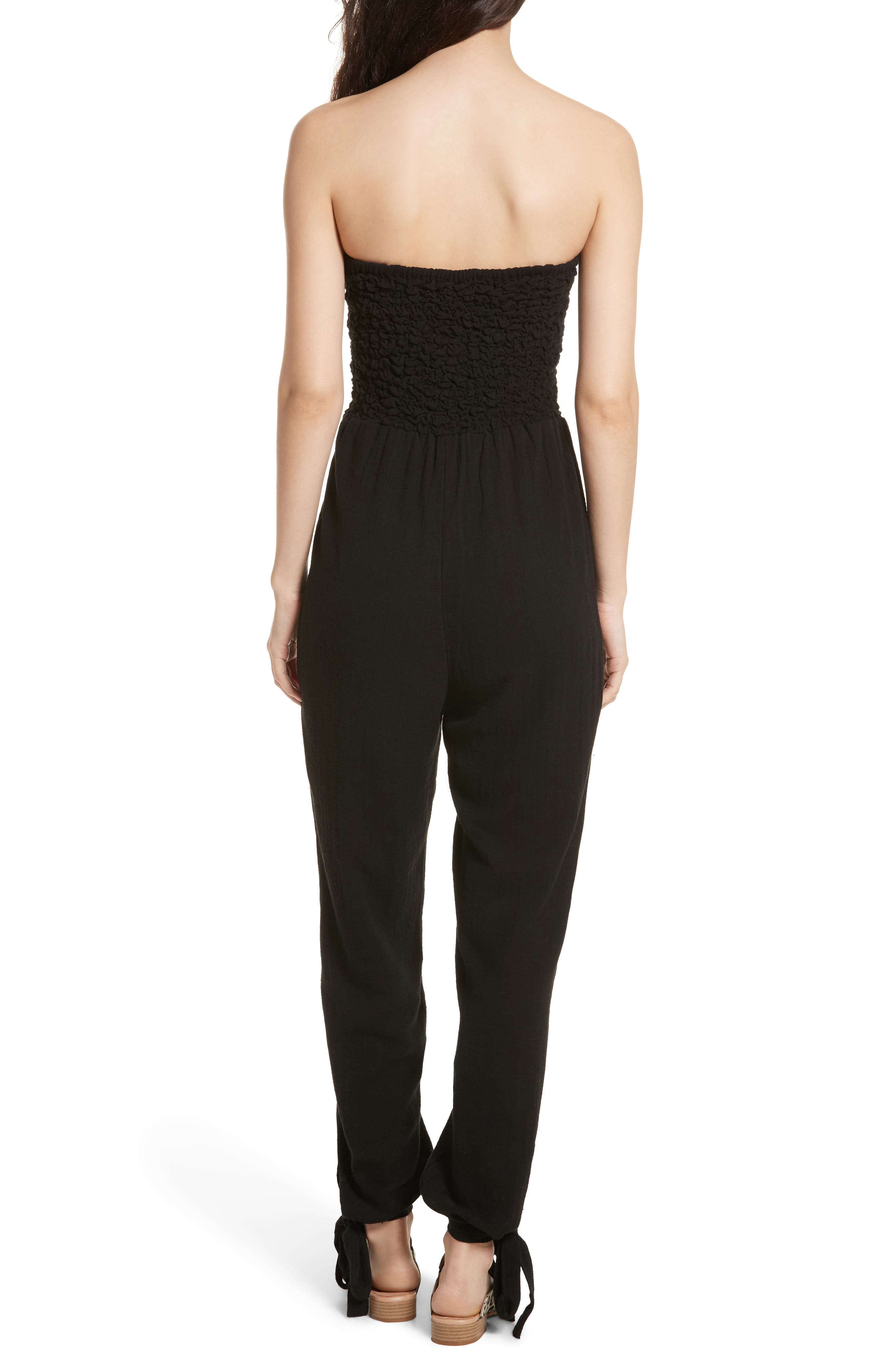 Karan Strapless Smocked Jumpsuit,                             Alternate thumbnail 3, color,