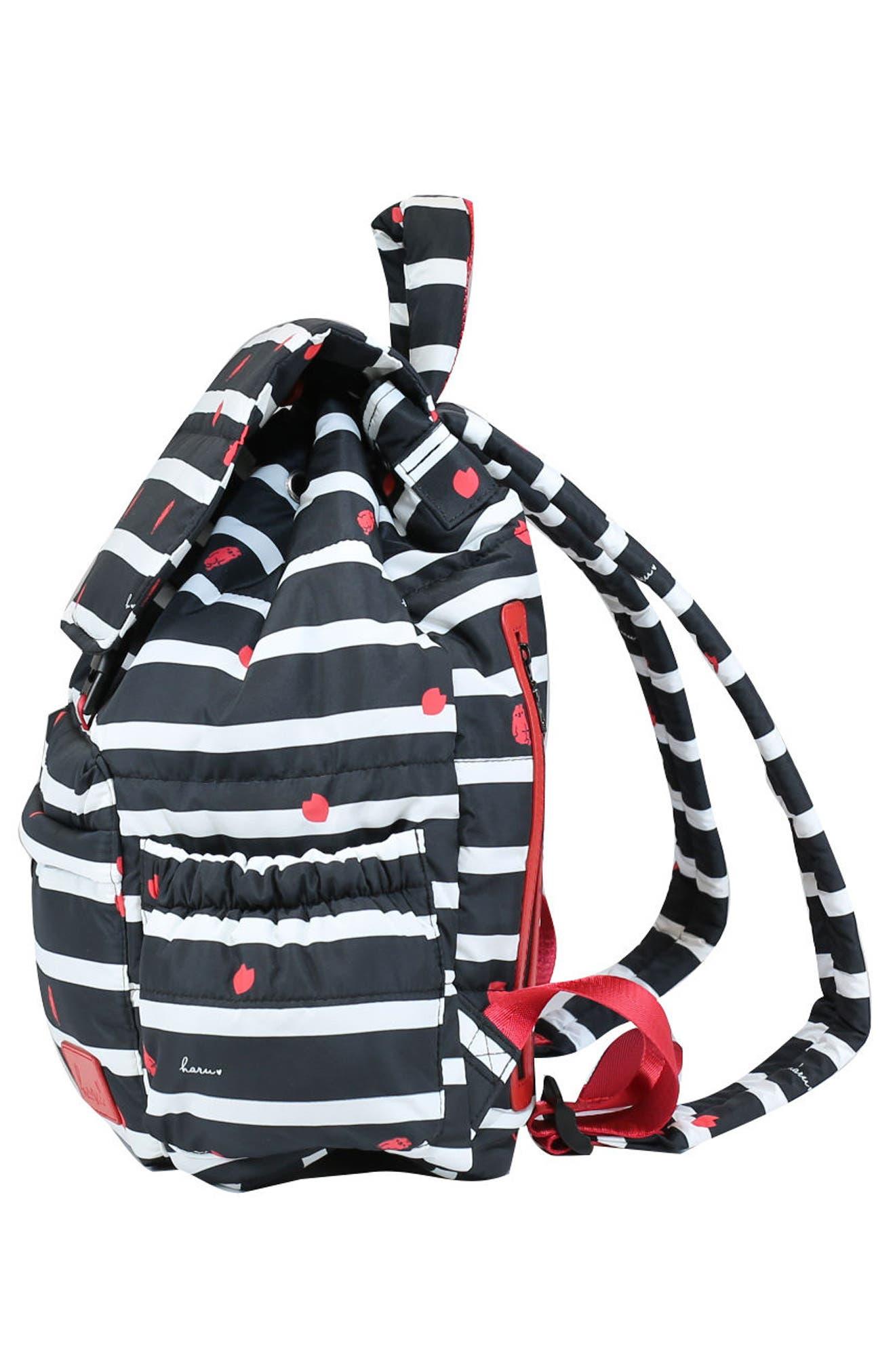 Print Water-Repellent Diaper Backpack,                             Alternate thumbnail 4, color,                             BLACK SAKURA
