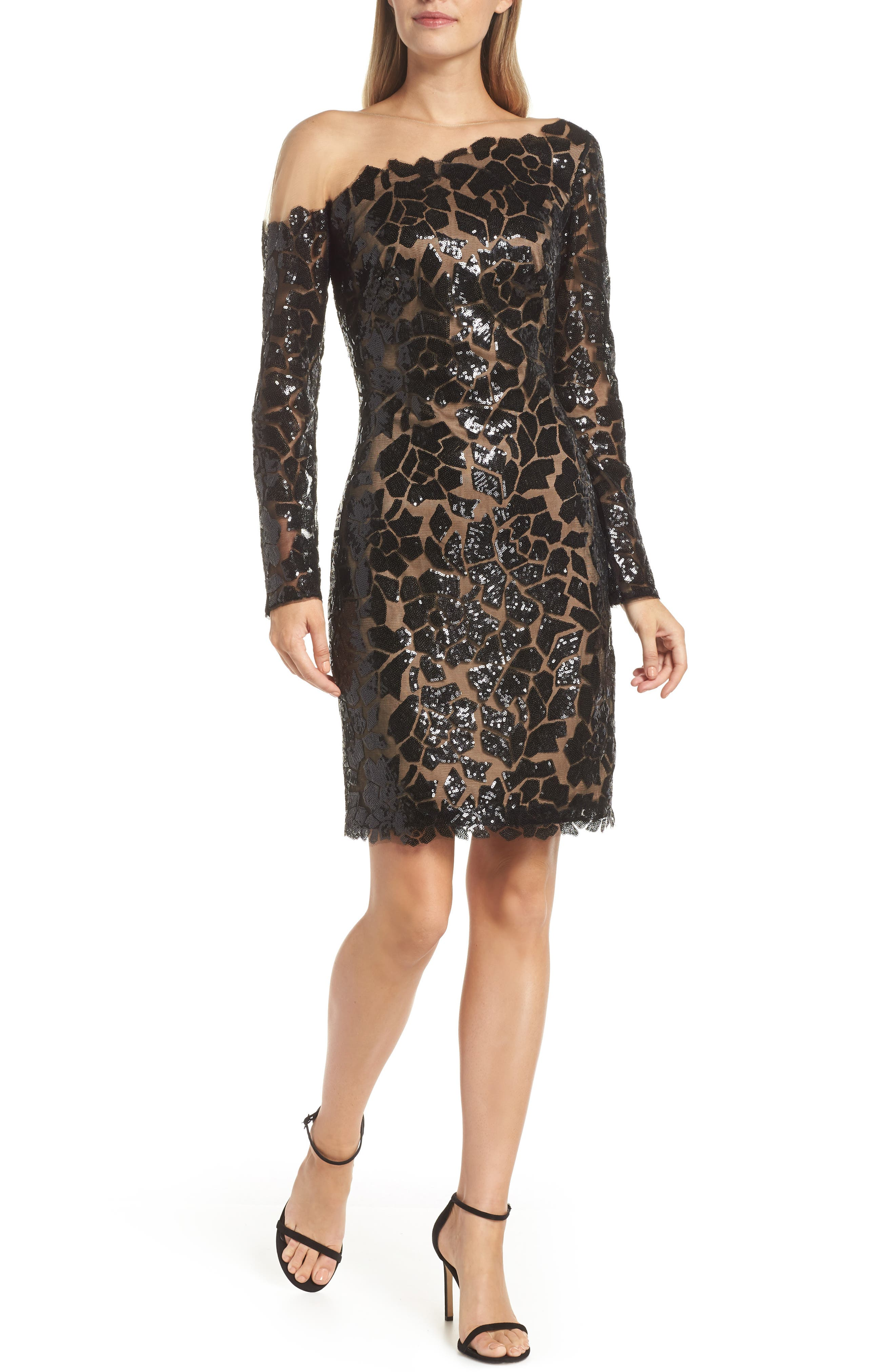 Sequin Illusion Body-Con Dress,                             Main thumbnail 1, color,                             BLACK/ NUDE
