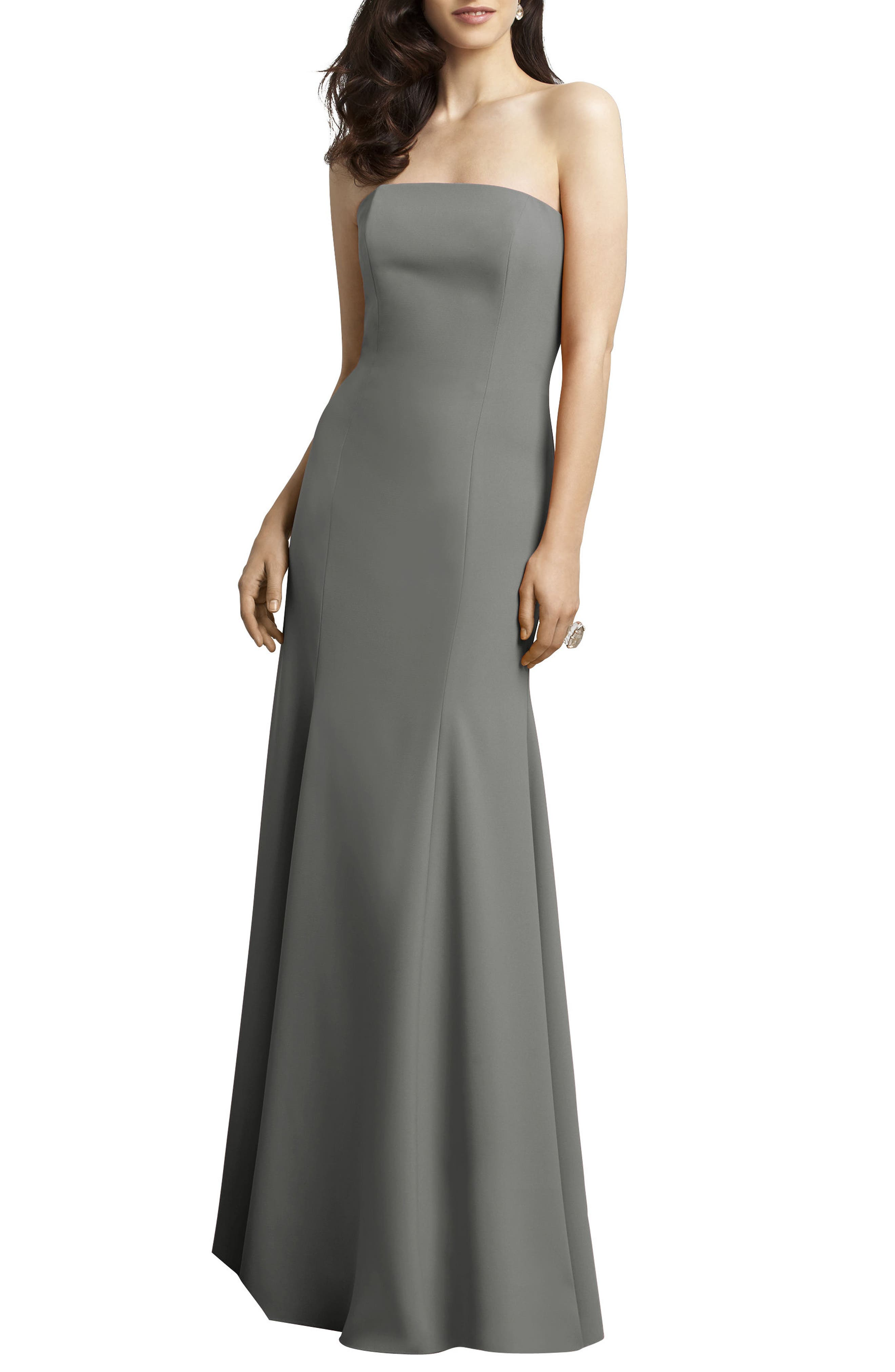 Strapless Crepe Trumpet Gown,                         Main,                         color, 021