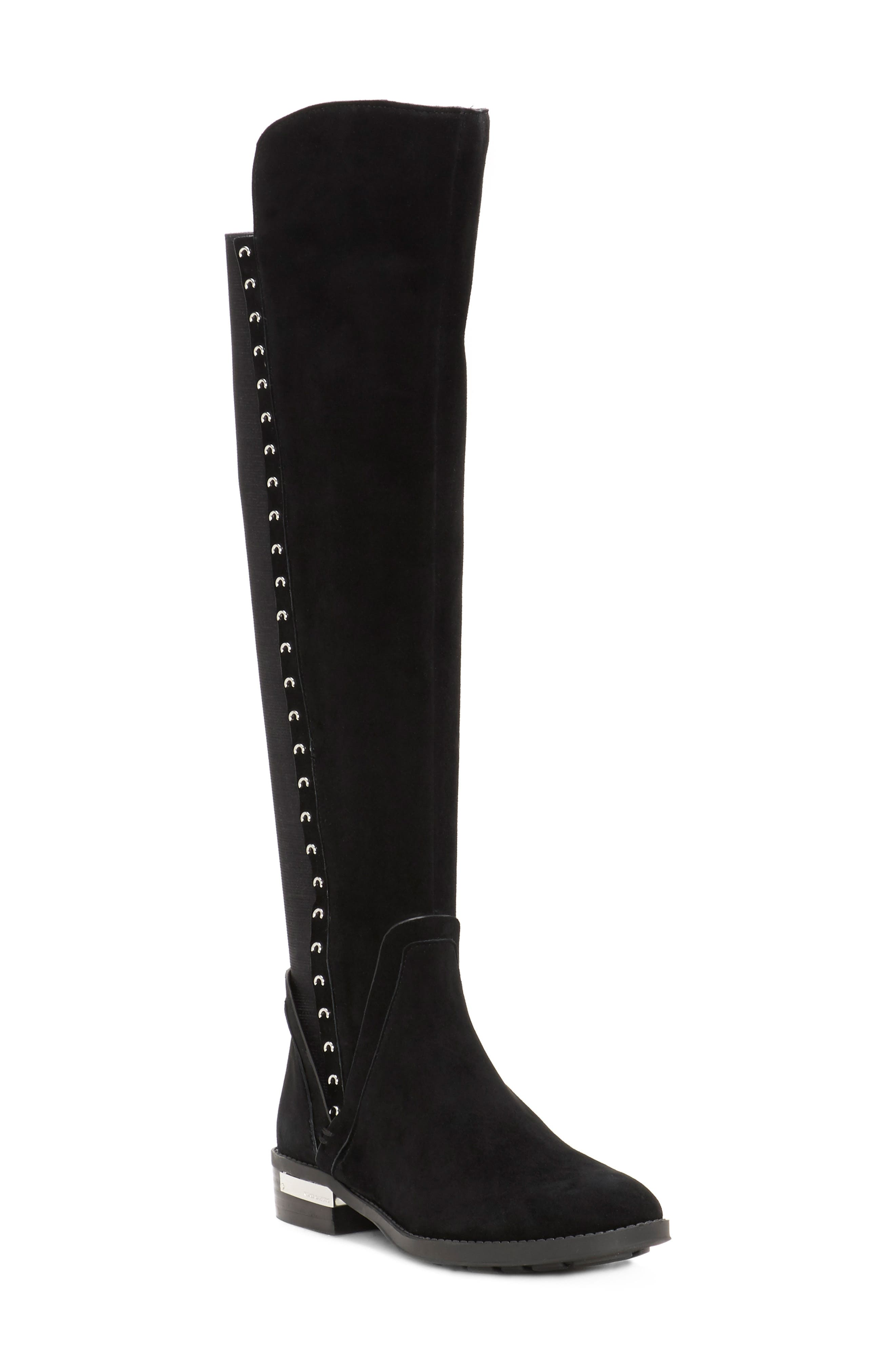 Pardonal Over-the-Knee Boot,                         Main,                         color, BLACK SUEDE