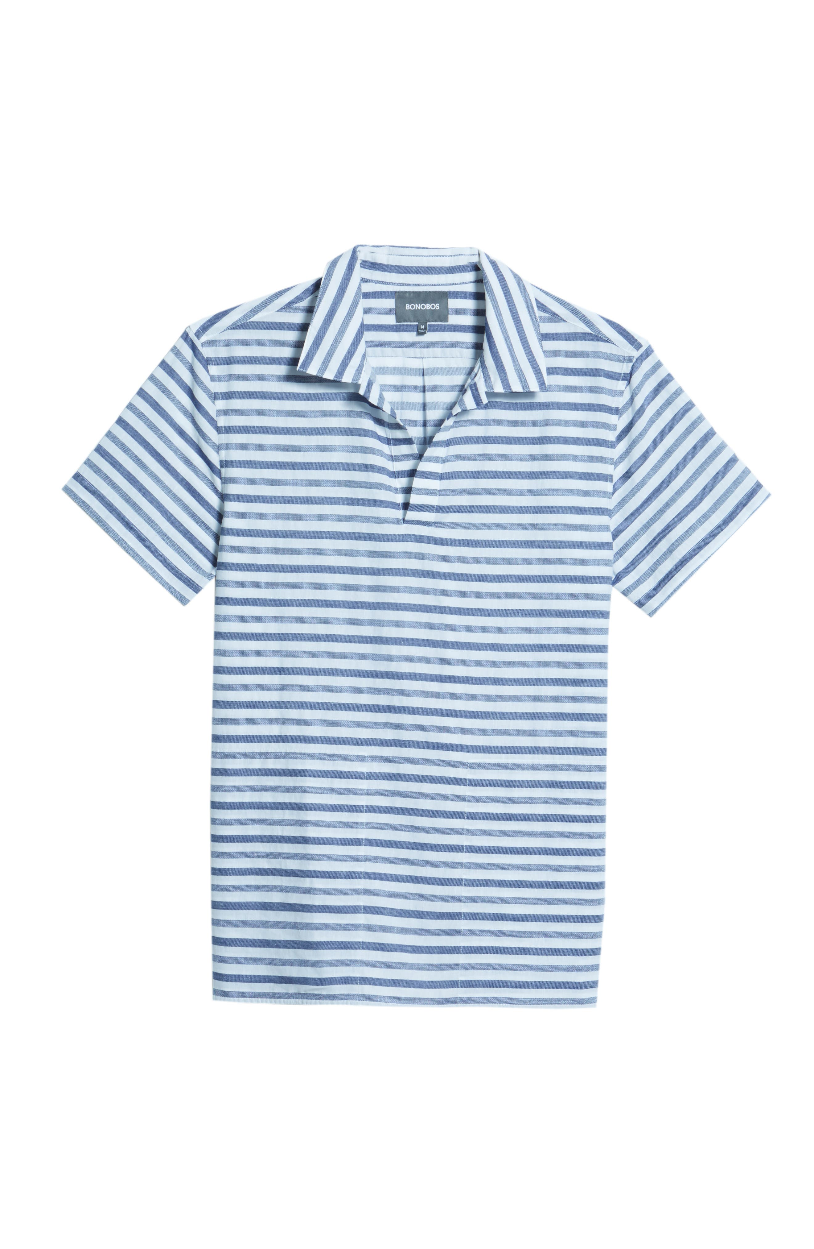Beach Slim Fit Stripe Cotton & Linen Shirt,                             Alternate thumbnail 6, color,                             100