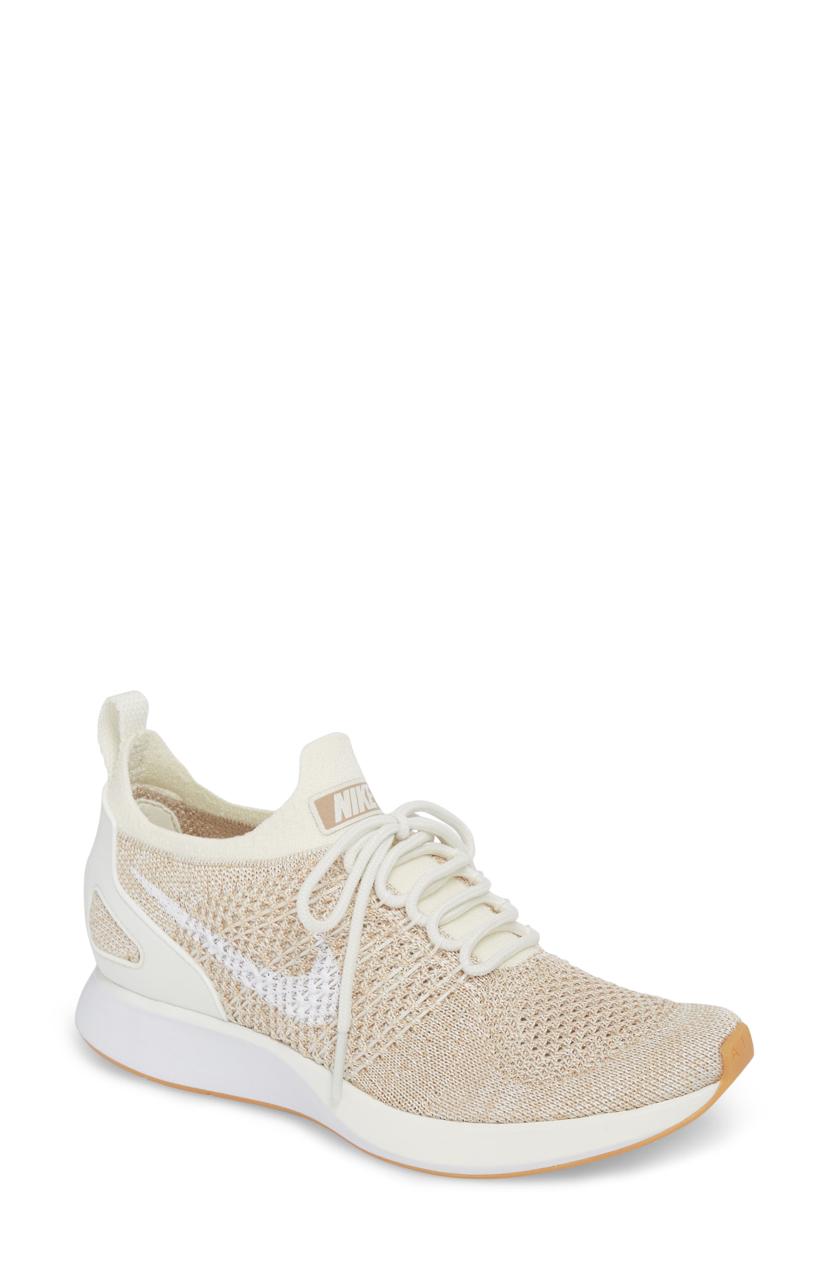 Air Zoom Mariah Flyknit Racer Sneaker,                         Main,                         color, SAIL/ WHITE/ SAND