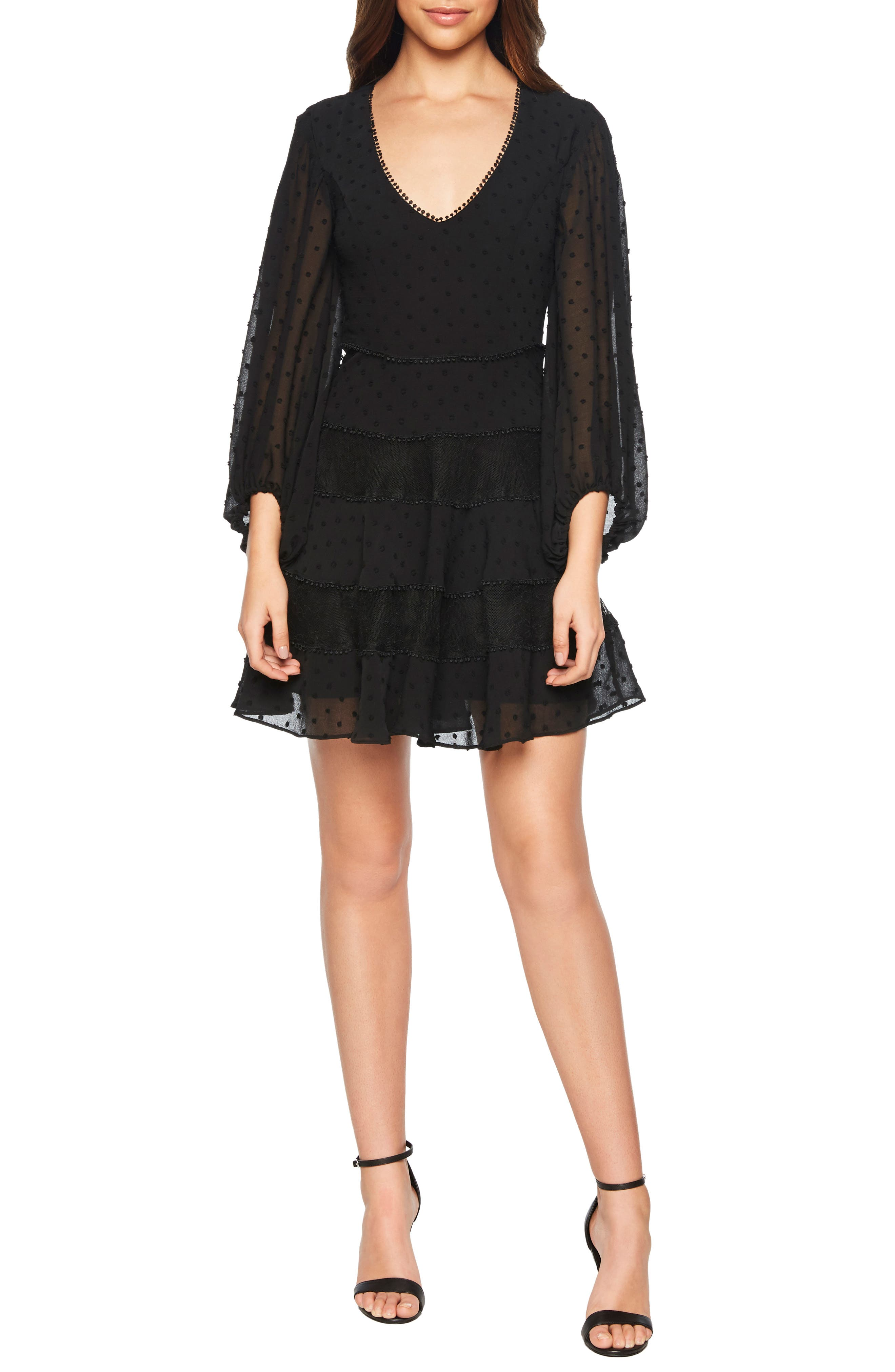 Bardot Mae Lace & Swiss Dot Fit & Flare Minidress, Black