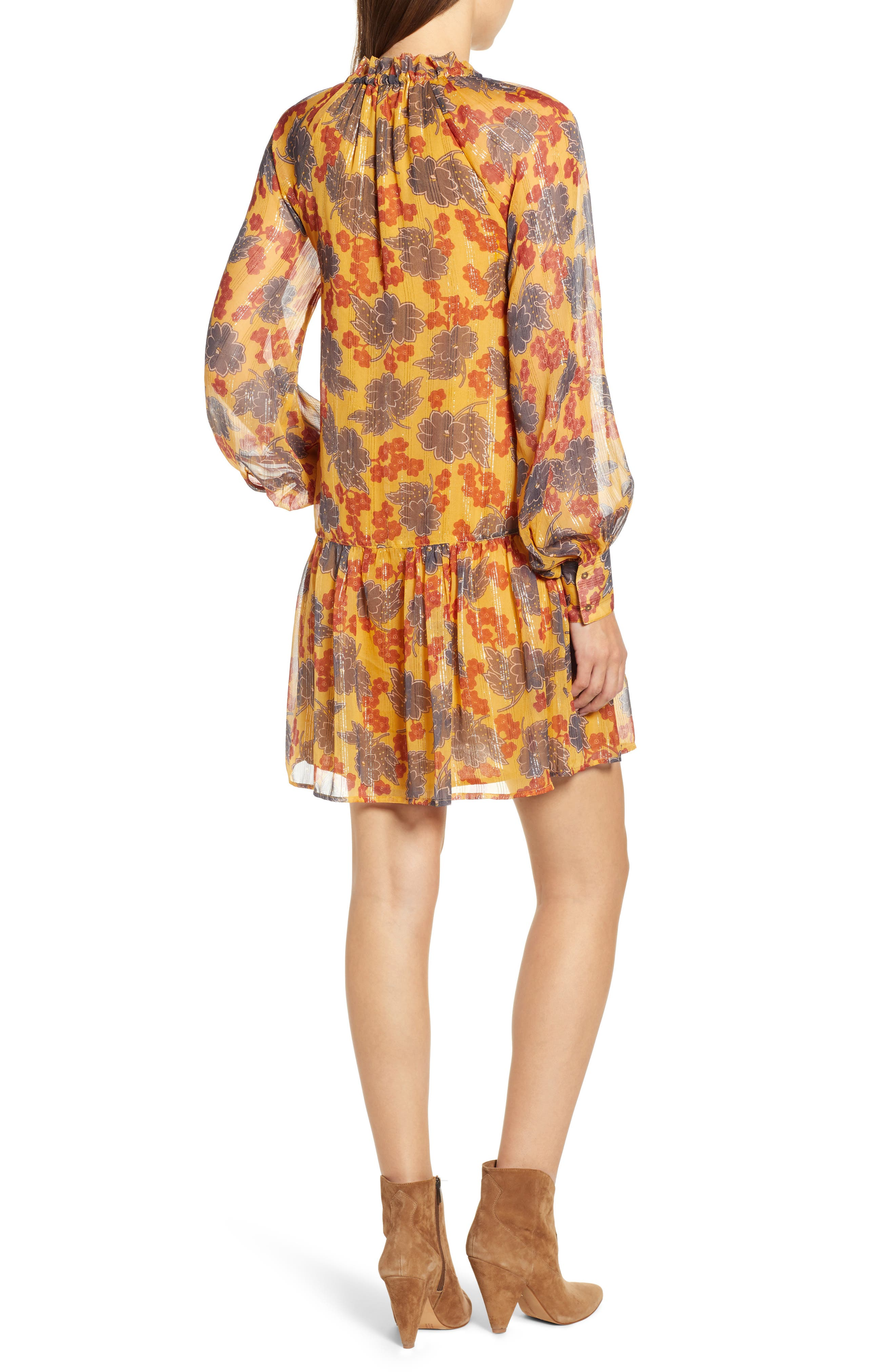 Metallic Stripe Floral Print Dress,                             Alternate thumbnail 2, color,                             YELLOW AND BURGUNDY