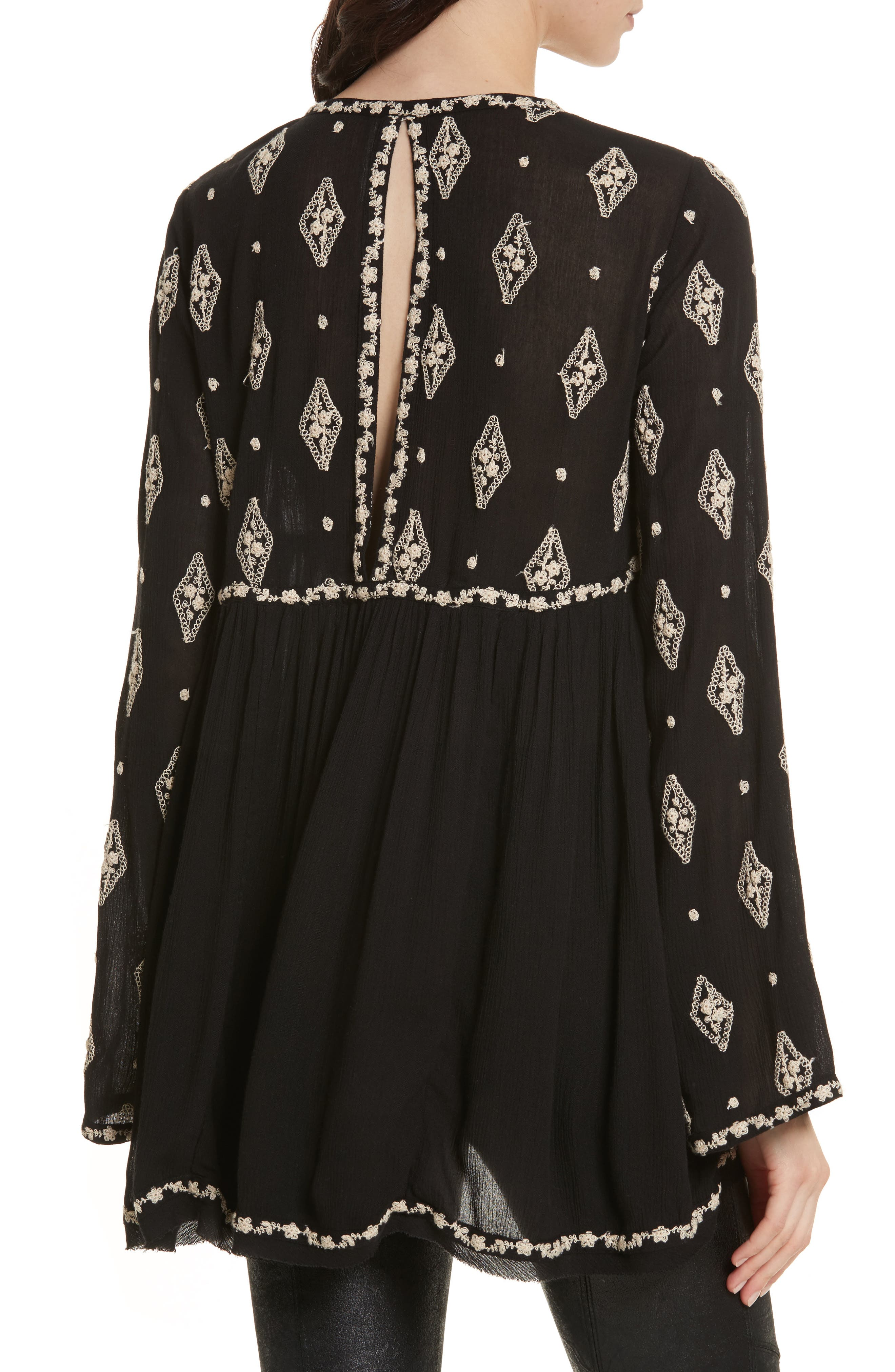 Embroidered Bell Sleeve Top,                             Alternate thumbnail 9, color,
