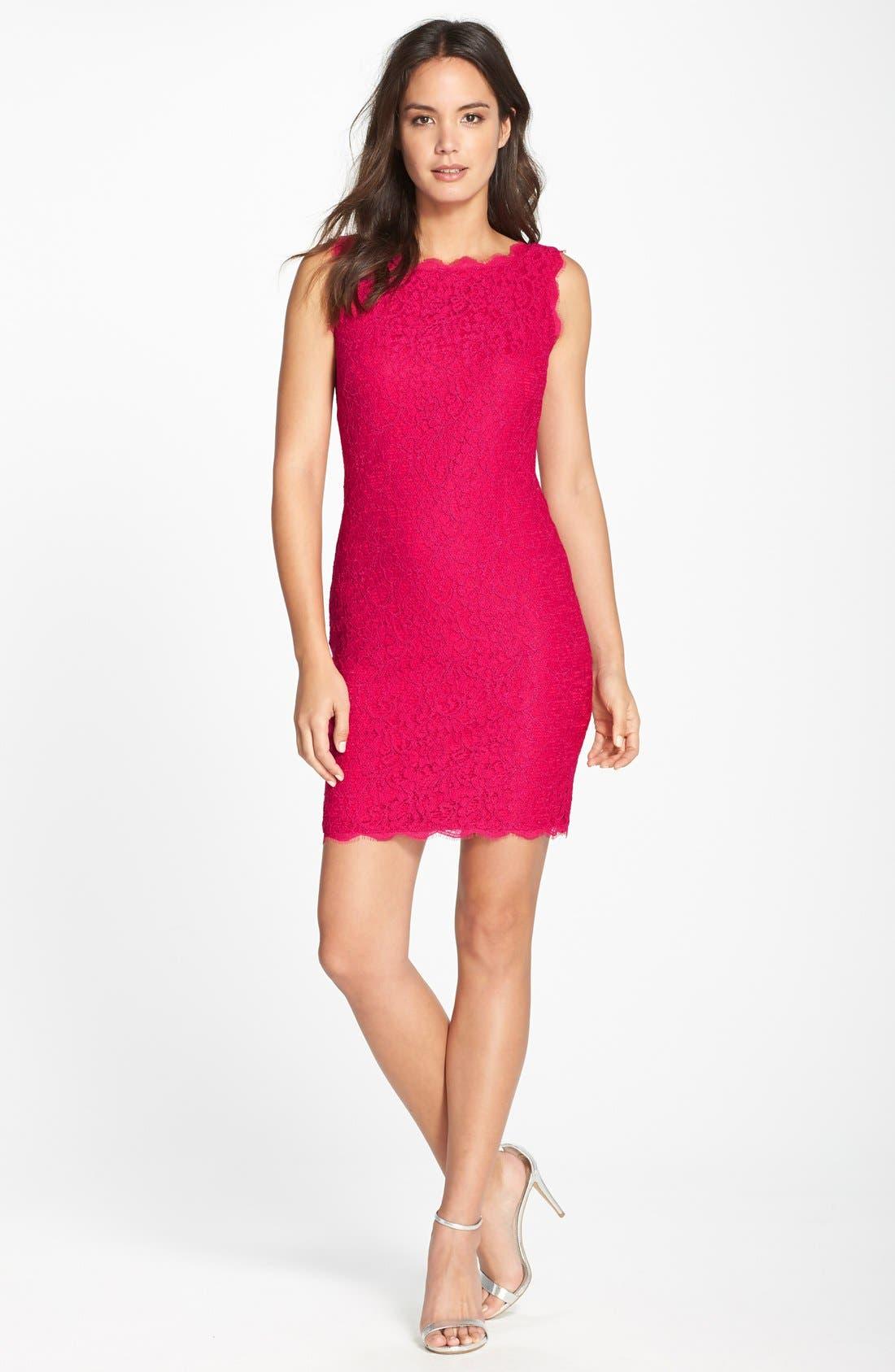 Boatneck Lace Sheath Dress,                             Alternate thumbnail 57, color,