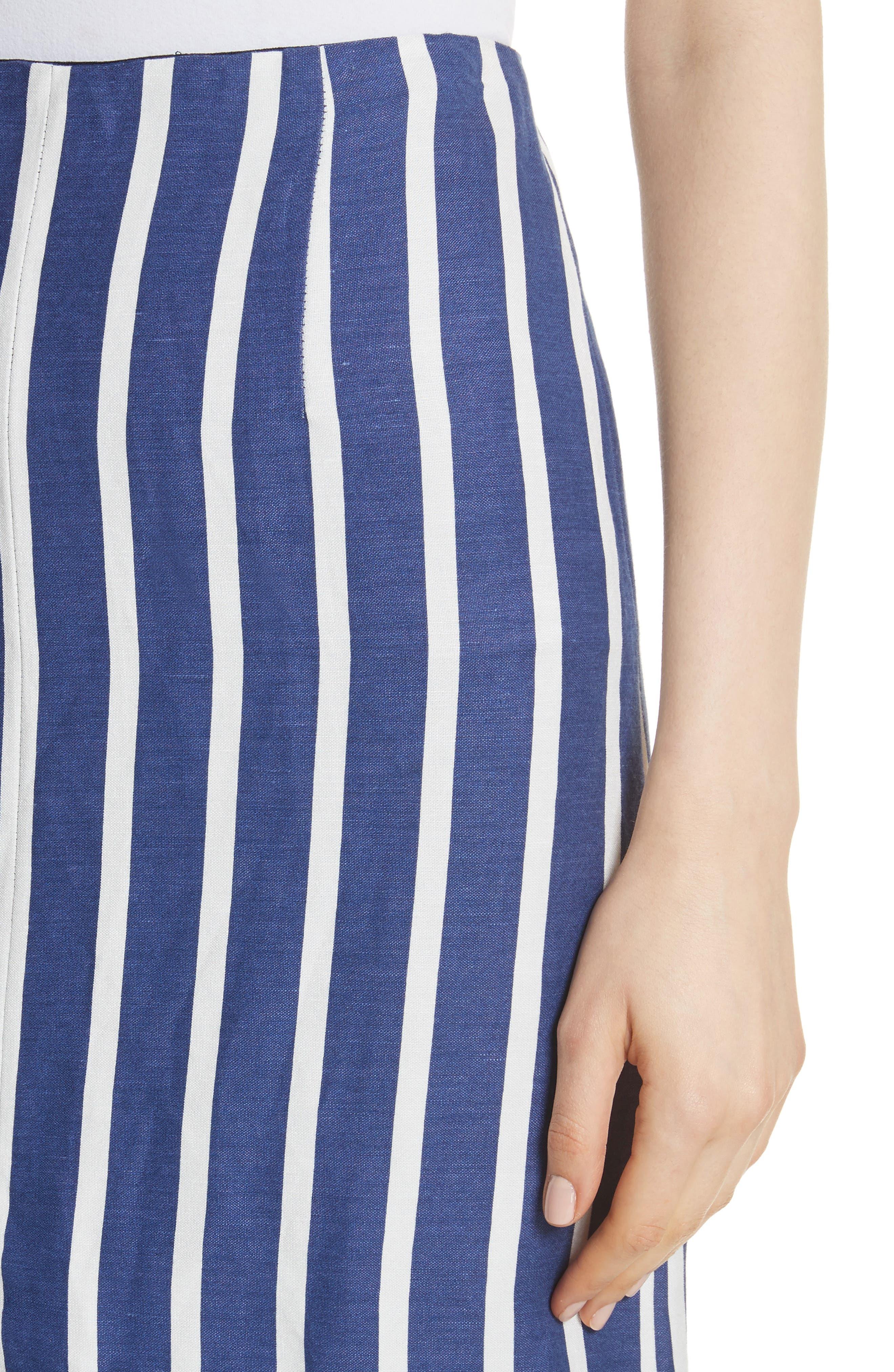 Sabrena Stripe Front Slit Linen Blend Midi Skirt,                             Alternate thumbnail 4, color,                             475