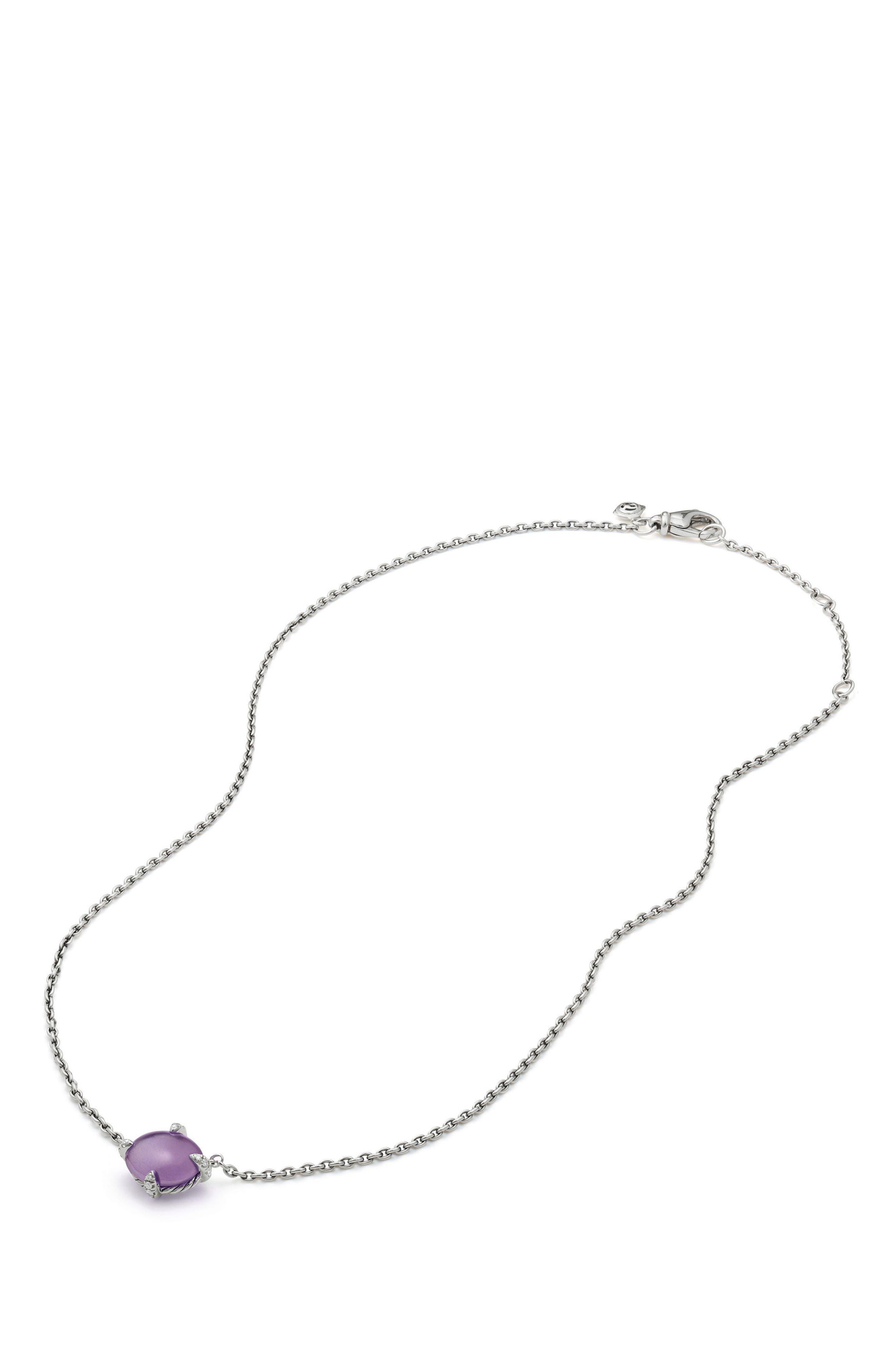 Chatelaine<sup>®</sup> Gemstone & Diamond Necklace,                             Alternate thumbnail 3, color,                             SILVER/ DIAMOND/ AMETHYST