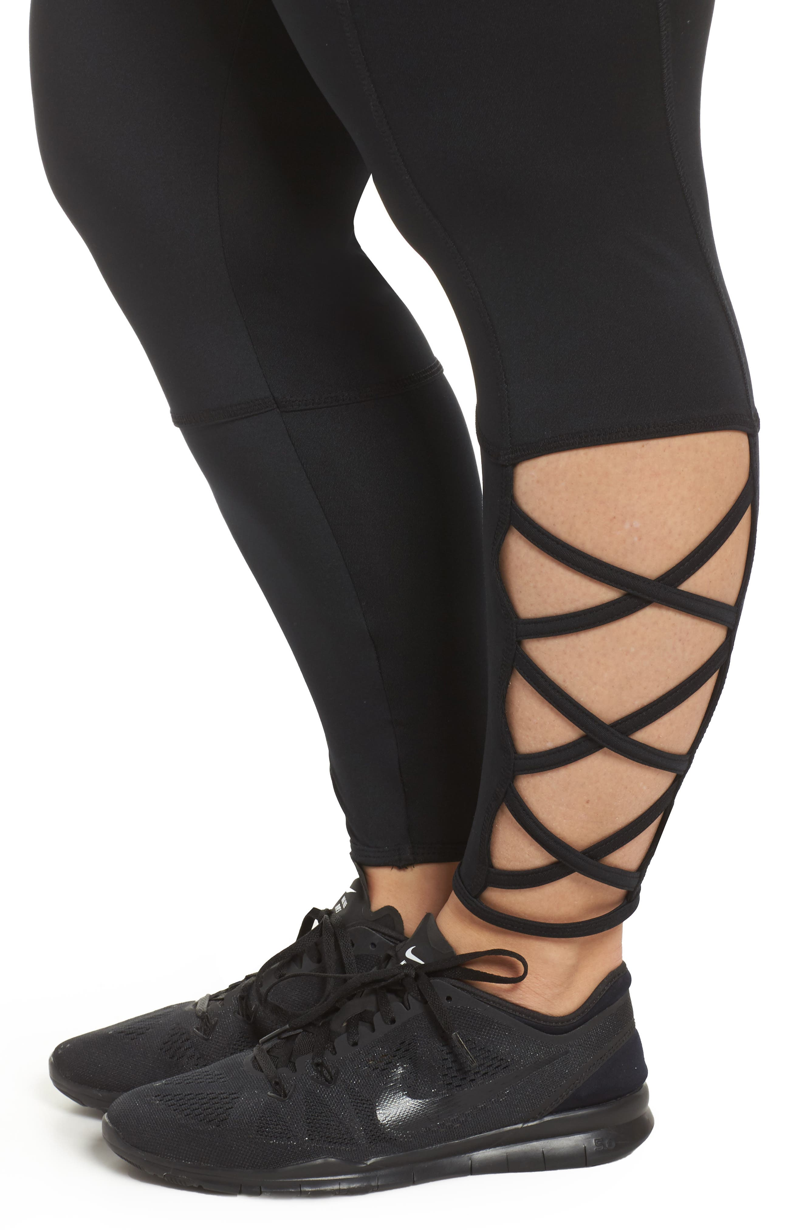 Lux Ankle Leggings,                             Alternate thumbnail 4, color,                             001