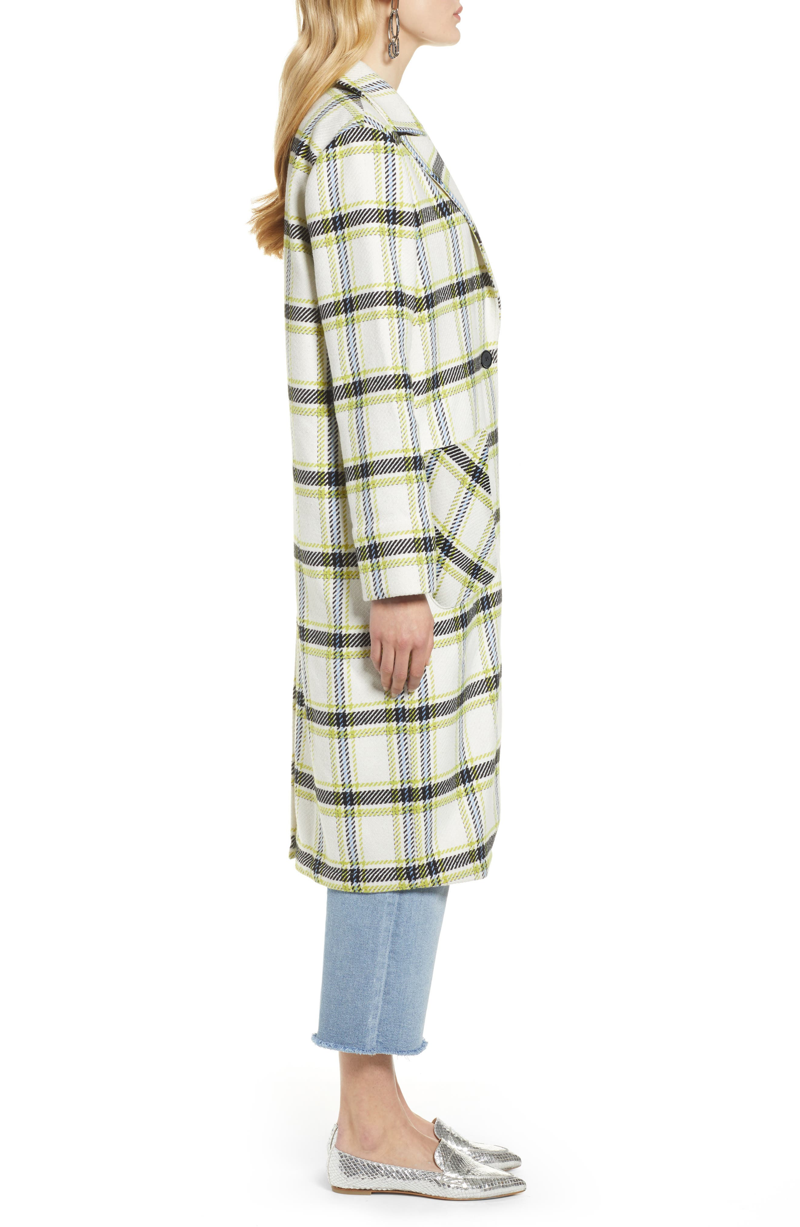 Plaid Coat,                             Alternate thumbnail 3, color,                             IVORY MULTI CHECK