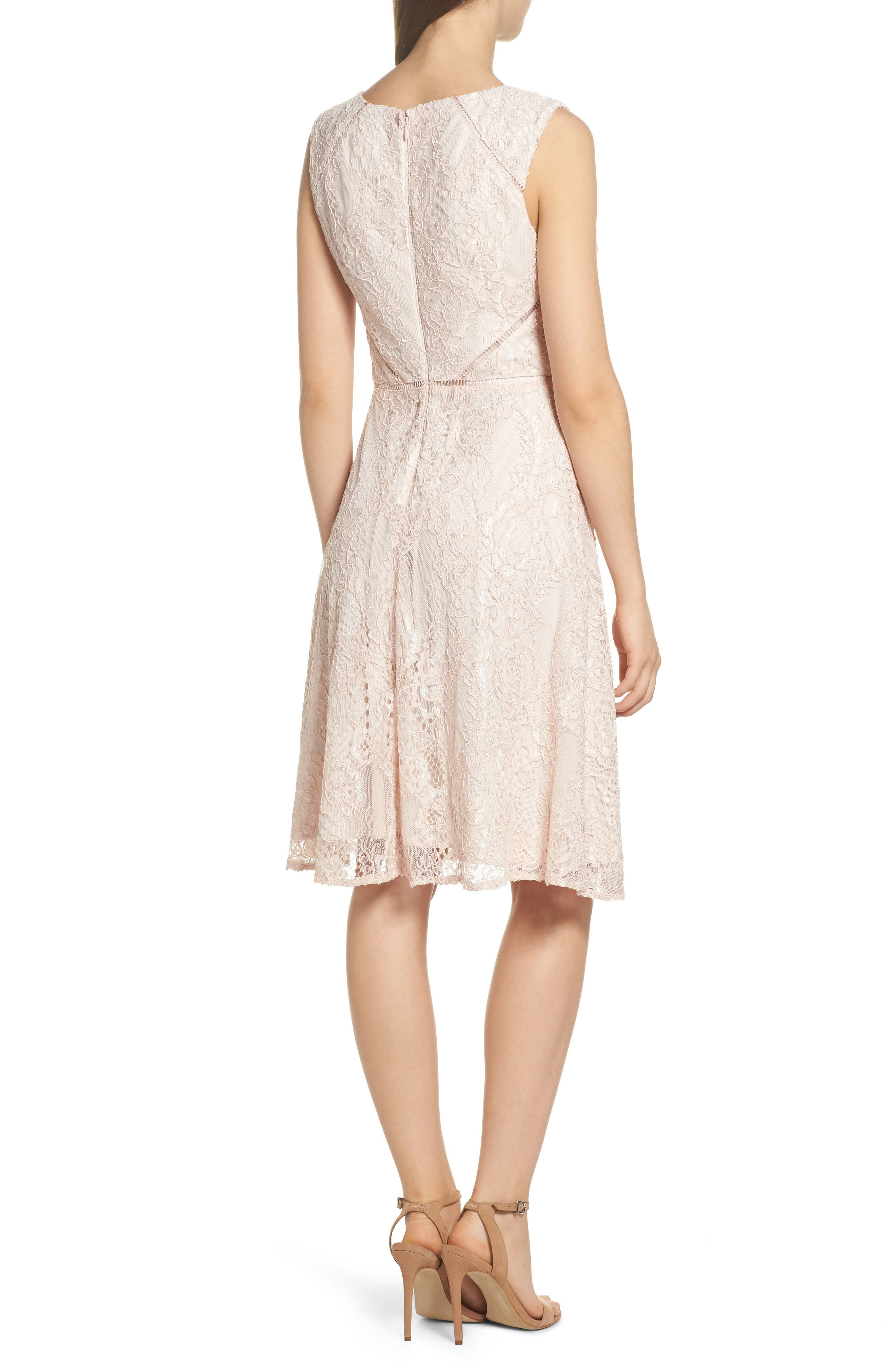 Rose Lace Fit & Flare Dress,                             Alternate thumbnail 2, color,