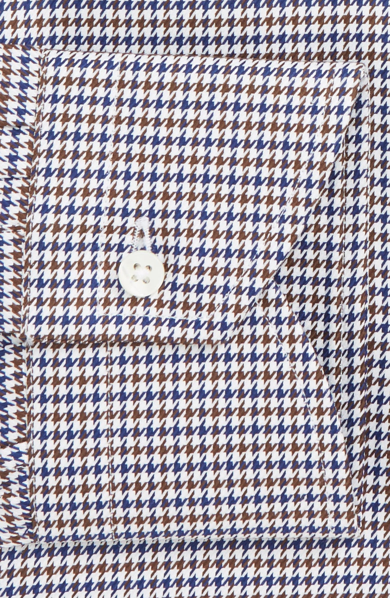 Regular Fit Houndstooth Dress Shirt,                             Alternate thumbnail 7, color,                             NAVY/ BROWN