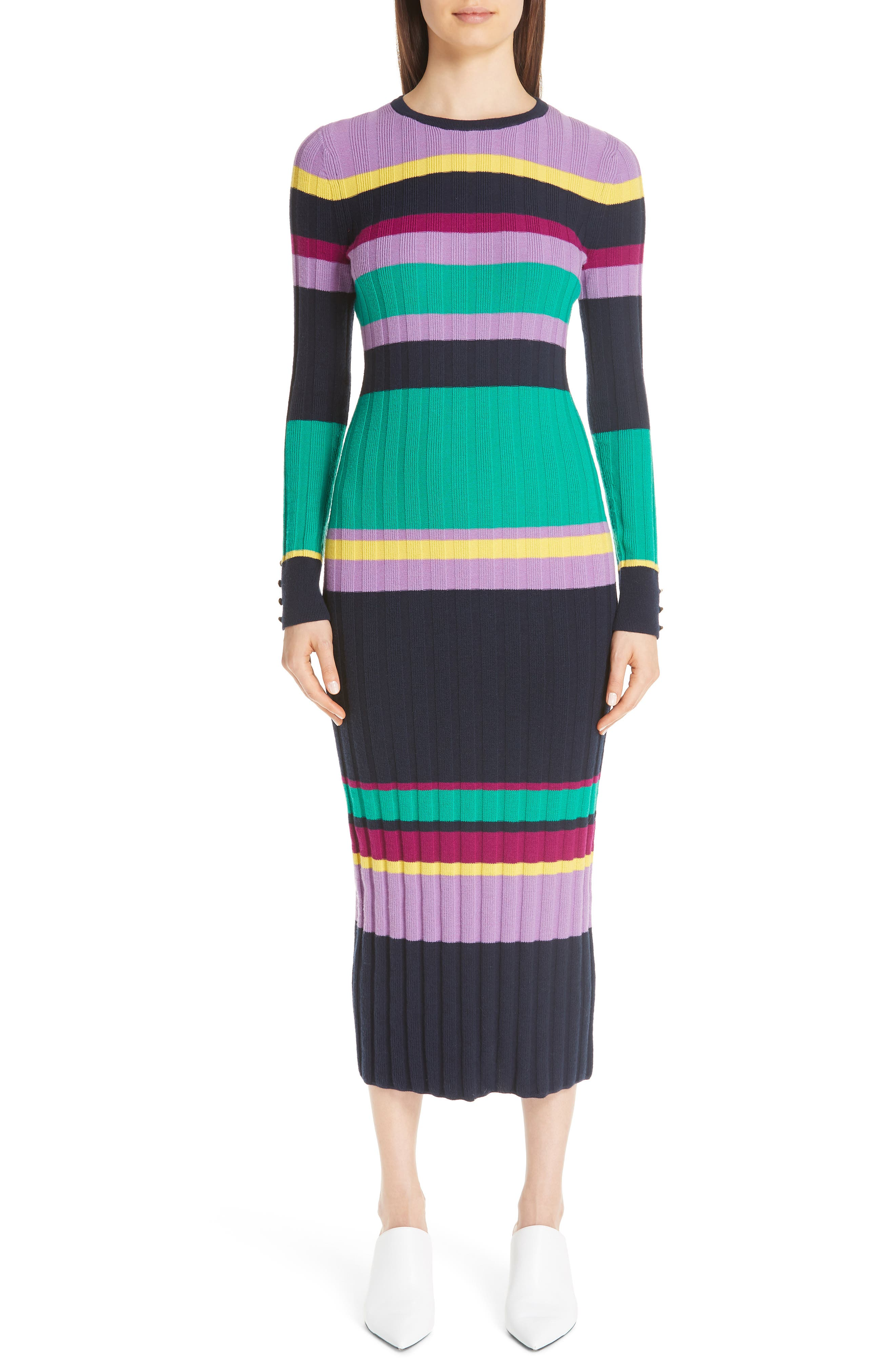 Lela Rose Ribbed Stripe Wool Blend Sweater Dress, Blue