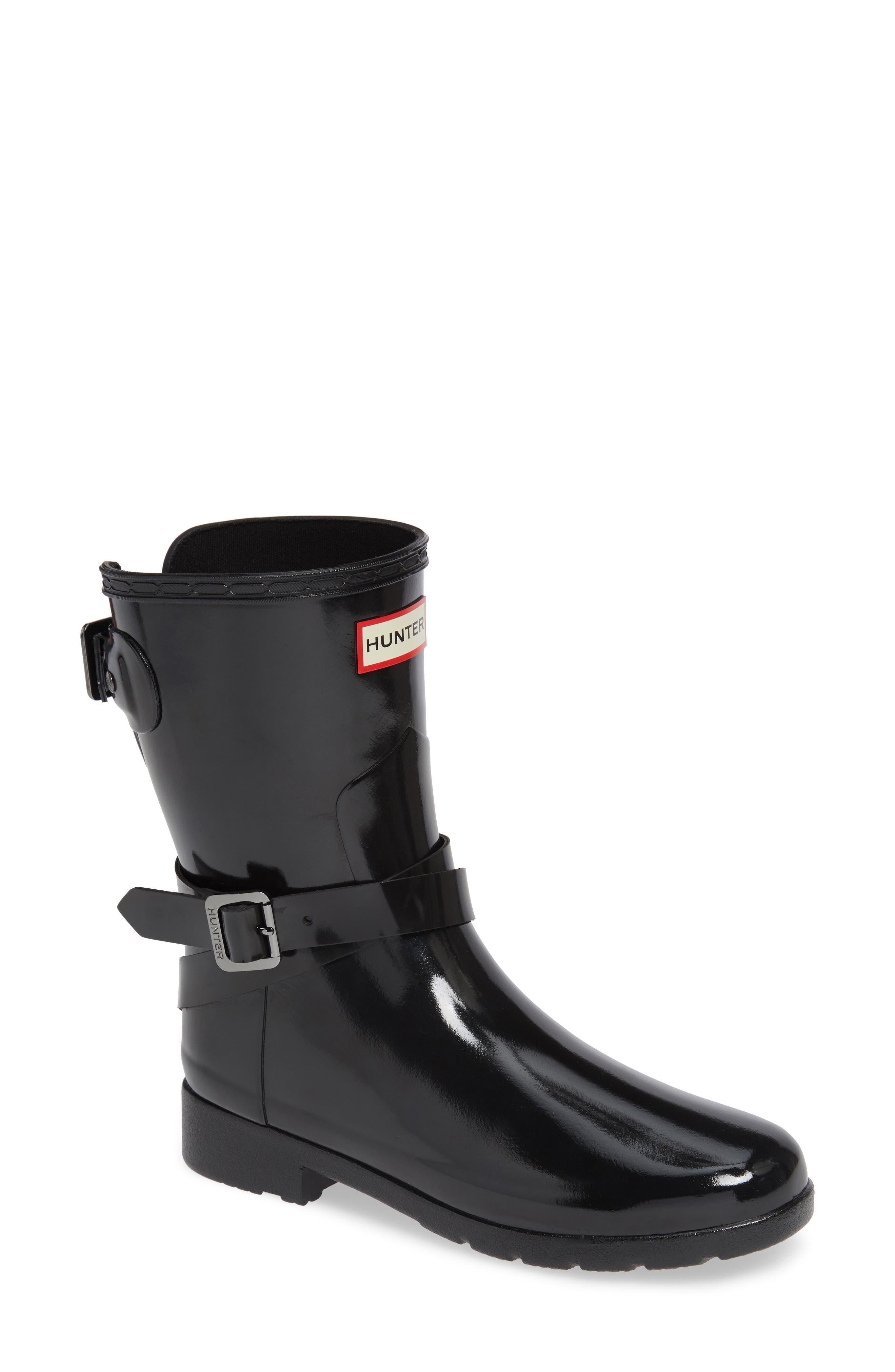 Original Refined Short Rain Bootie,                         Main,                         color, BLACK