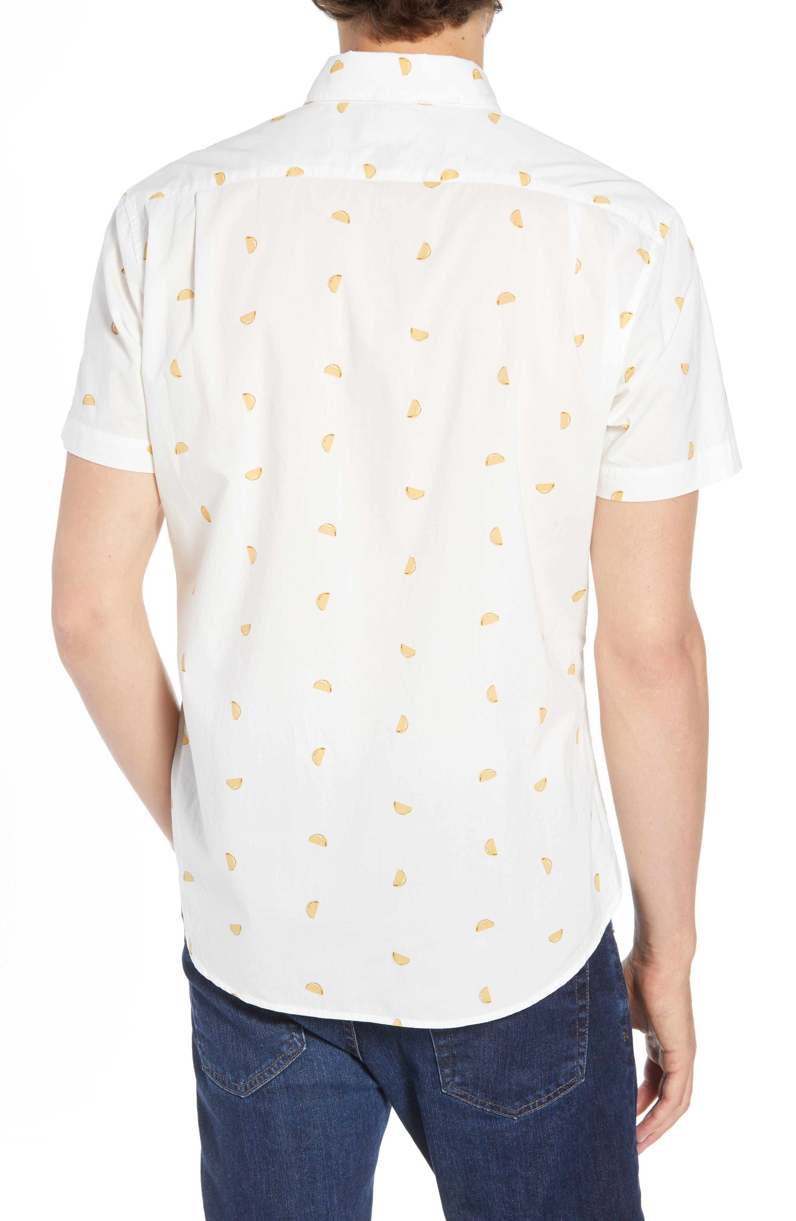 Riviera Slim Fit Taco Print Sport Shirt,                             Alternate thumbnail 2, color,                             TACO TOSS - GOLDEN LOTUS