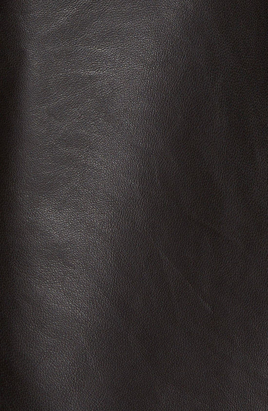 Hooded Leather Jacket,                             Alternate thumbnail 6, color,                             001