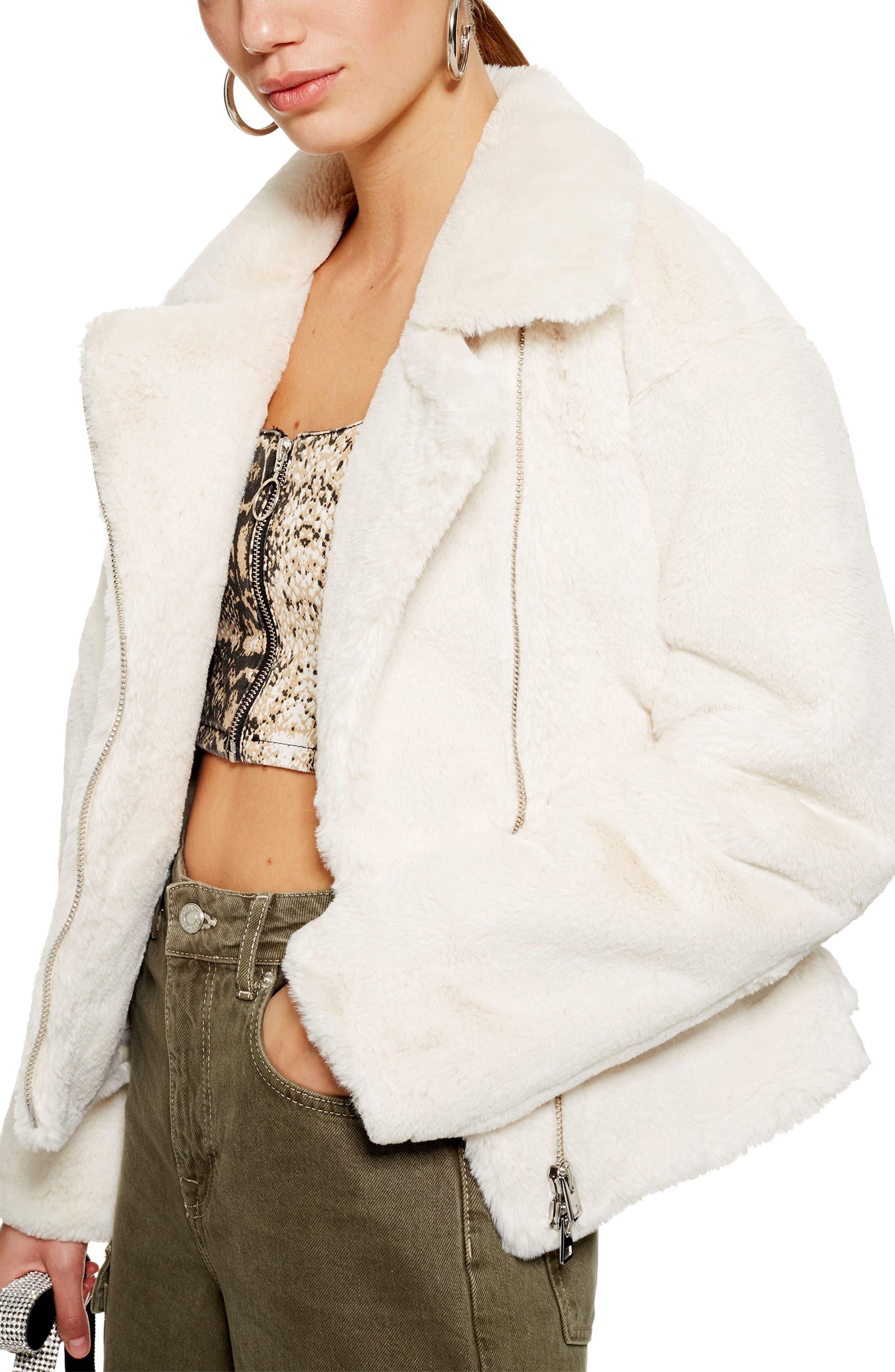 Topshop Lily Faux Fur Biker Jacket Nordstrom