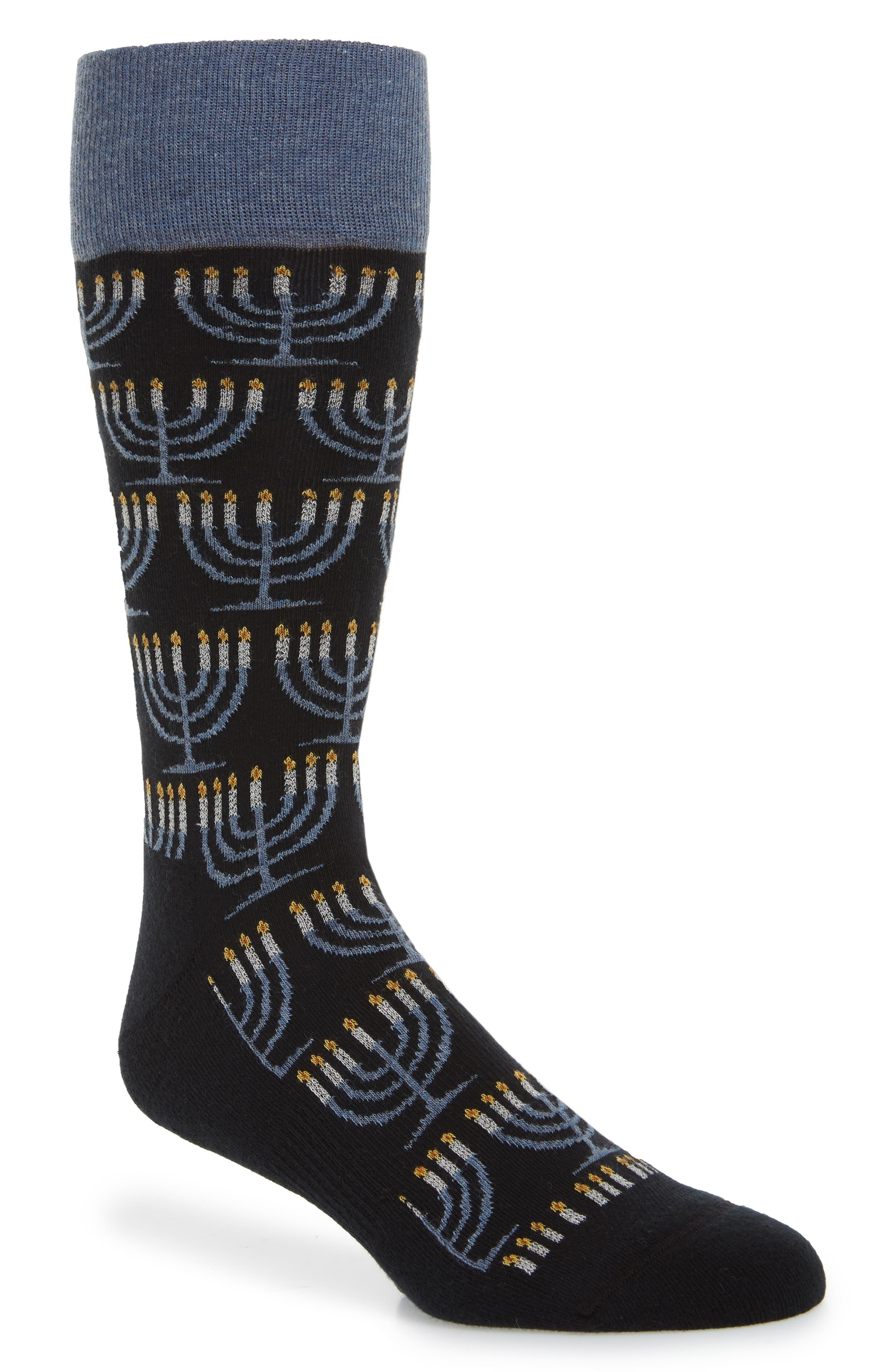 Holiday Menorah Socks,                             Main thumbnail 1, color,                             001