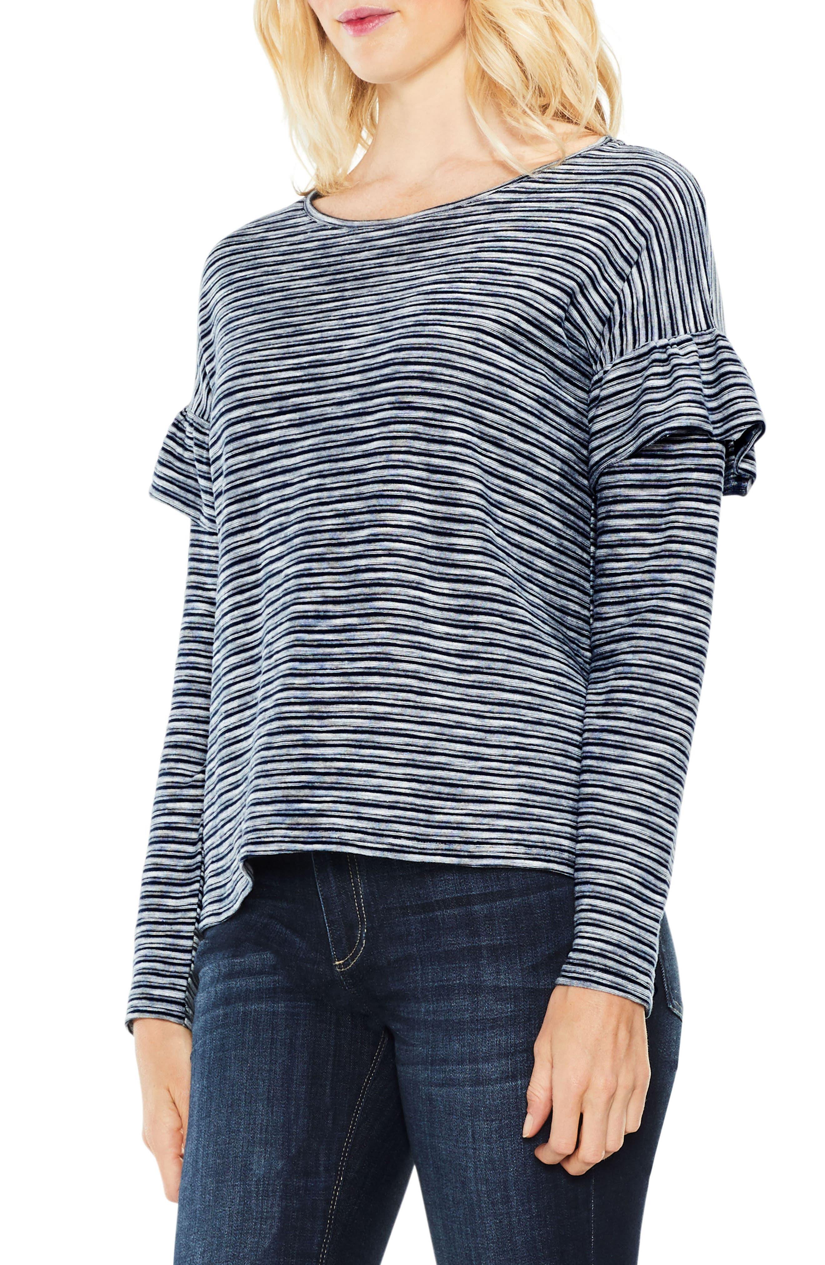 Long Sleeve Ruffle Shoulder Top,                         Main,                         color, 461