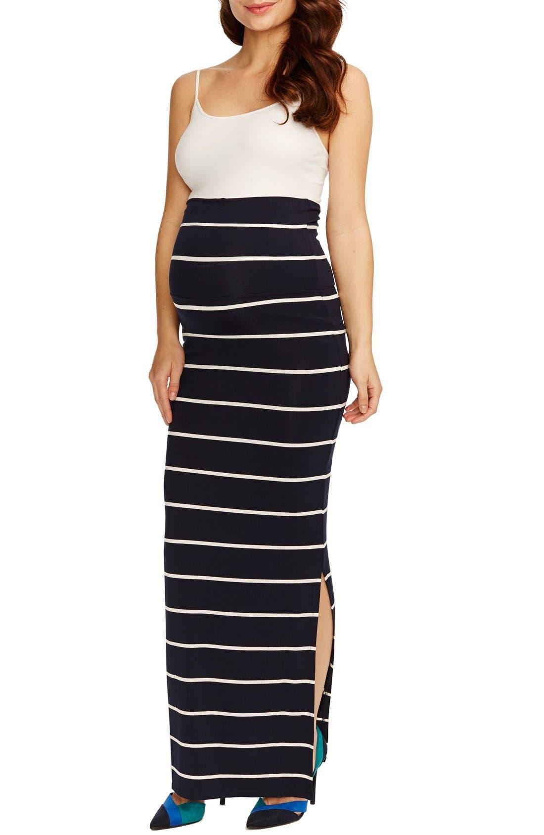 'Jessica' Stripe Maternity Maxi Skirt,                             Main thumbnail 1, color,                             NAVY WHITE STRIPE