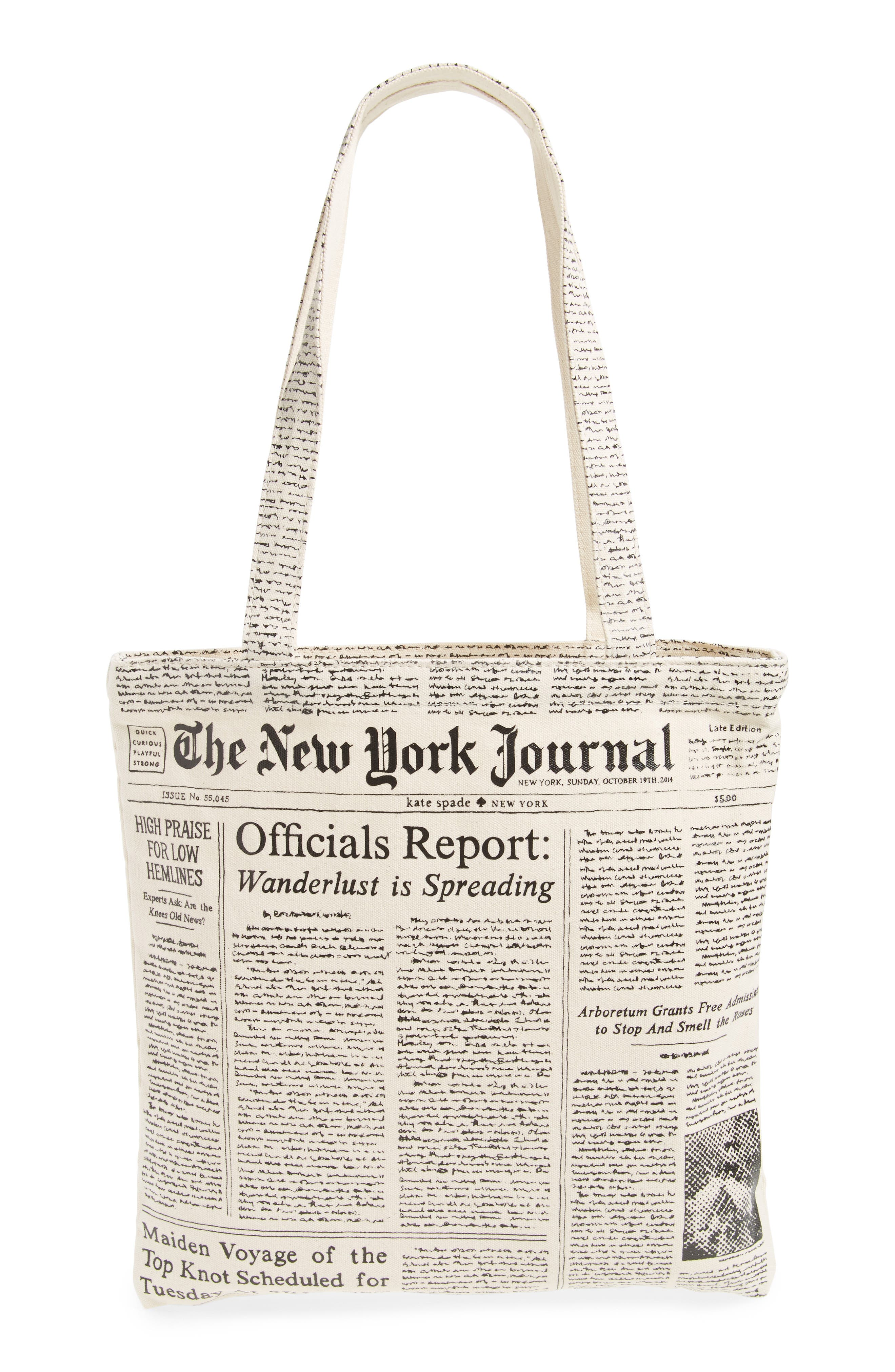 newspaper print canvas shopping tote,                             Alternate thumbnail 2, color,                             001