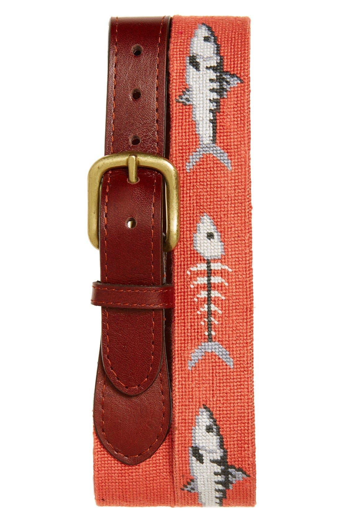 SMATHERS & BRANSON 'Bonefish' Needlepoint Belt, Main, color, 830