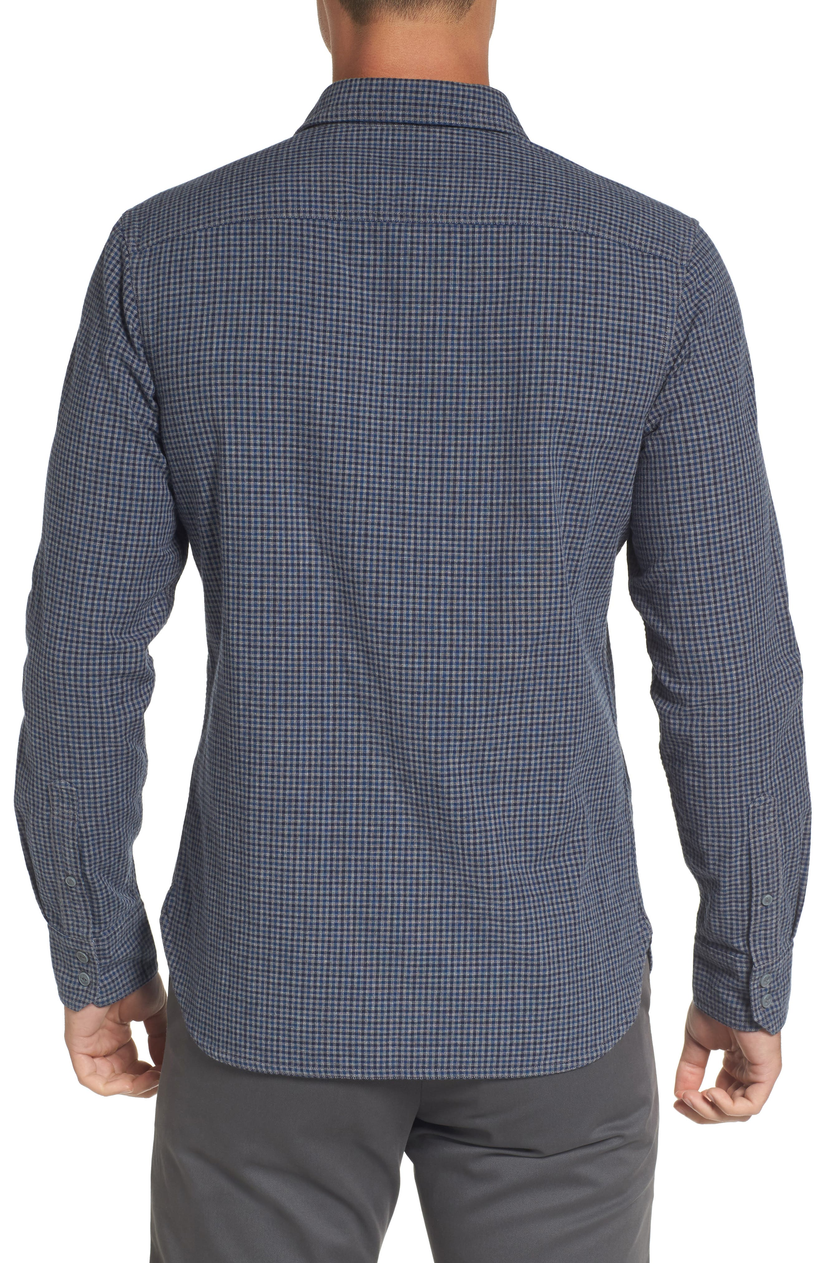 Slim Fit Micro Check Sport Shirt,                             Alternate thumbnail 2, color,