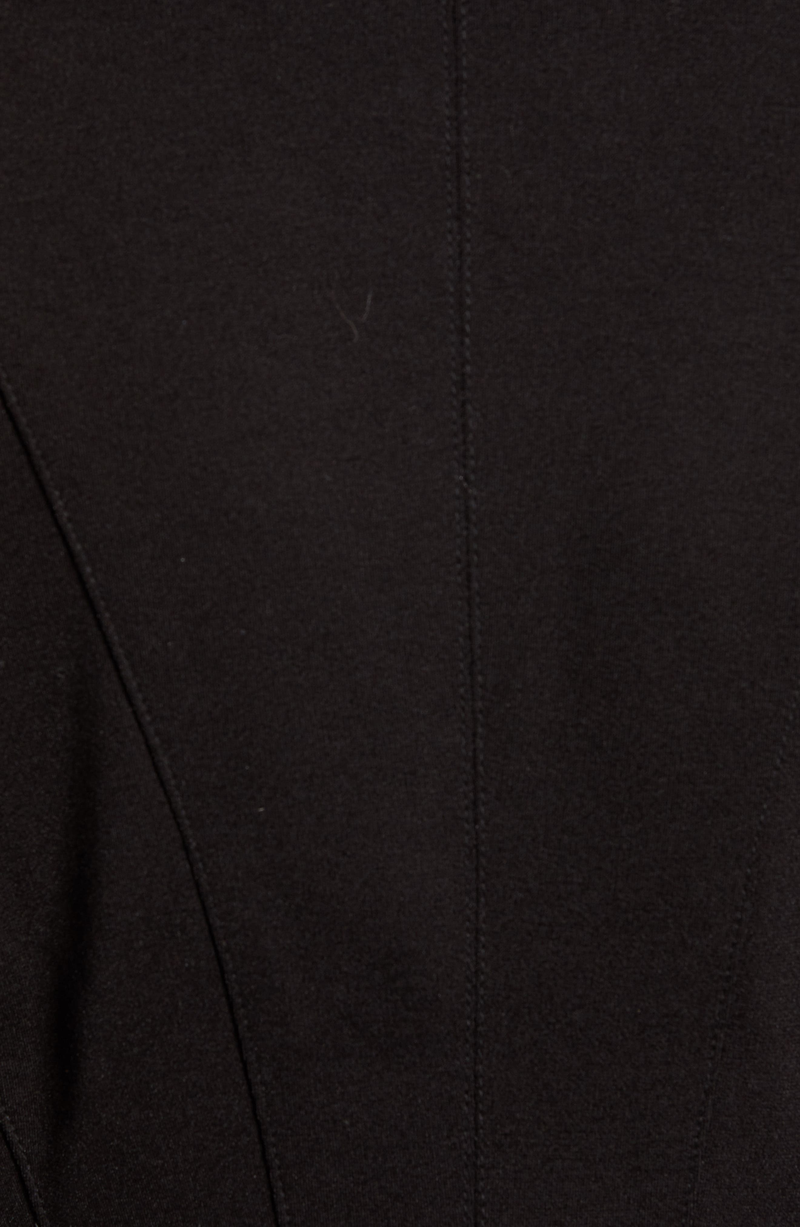 Zip Detail Fitted Ponte Jacket,                             Alternate thumbnail 7, color,                             CAVIAR