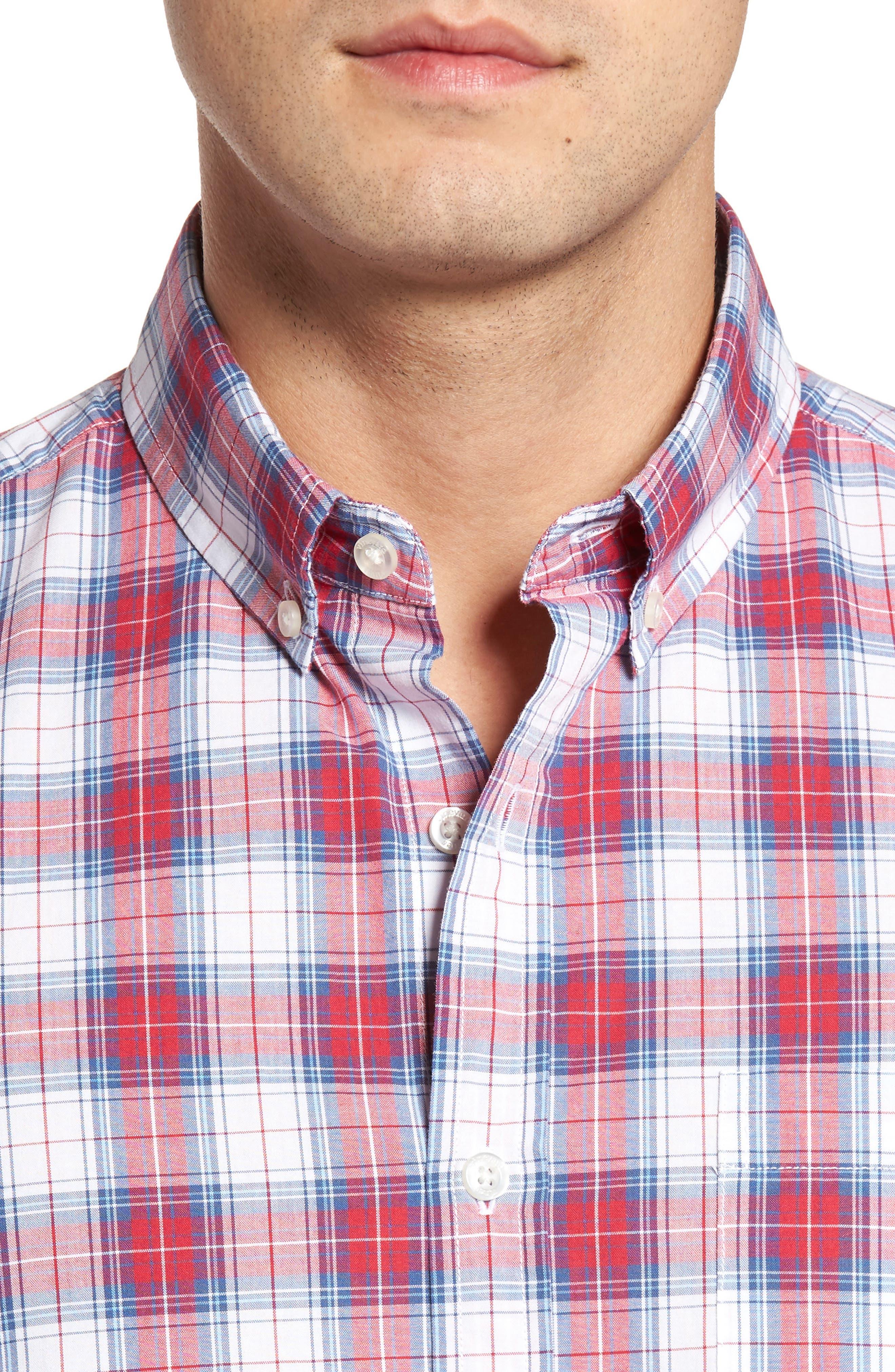 Murray Bucklin Point Slim Fit Plaid Sport Shirt,                             Alternate thumbnail 4, color,
