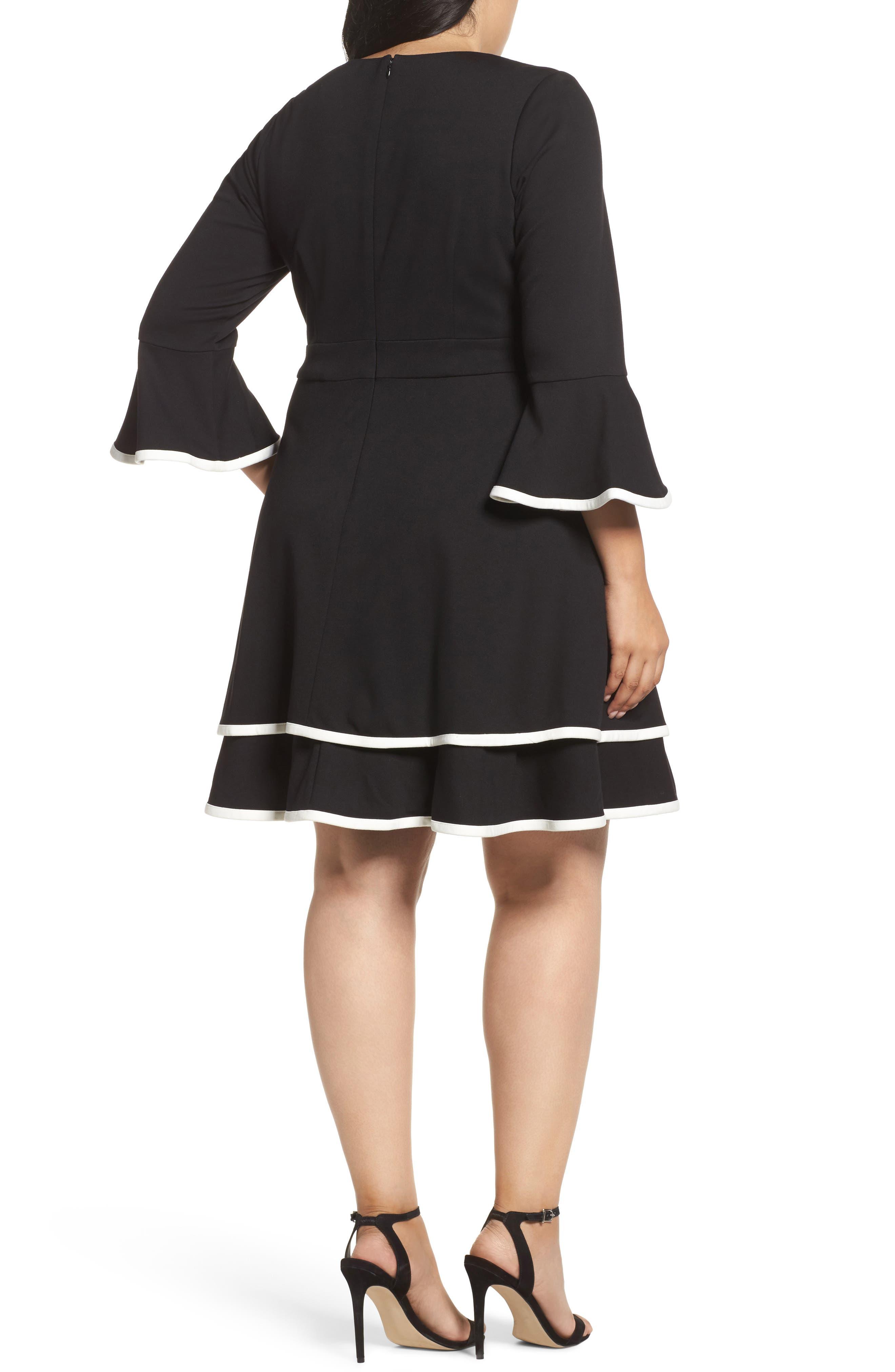 Bell Sleeve Contrast Trim Fit & Flare Dress,                             Alternate thumbnail 2, color,                             BLACK/ IVORY