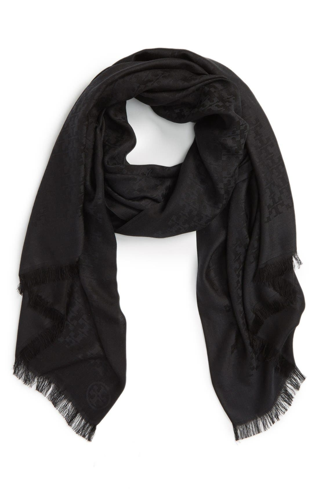'All-Over T' Silk & Cotton Jacquard Scarf, Main, color, 001
