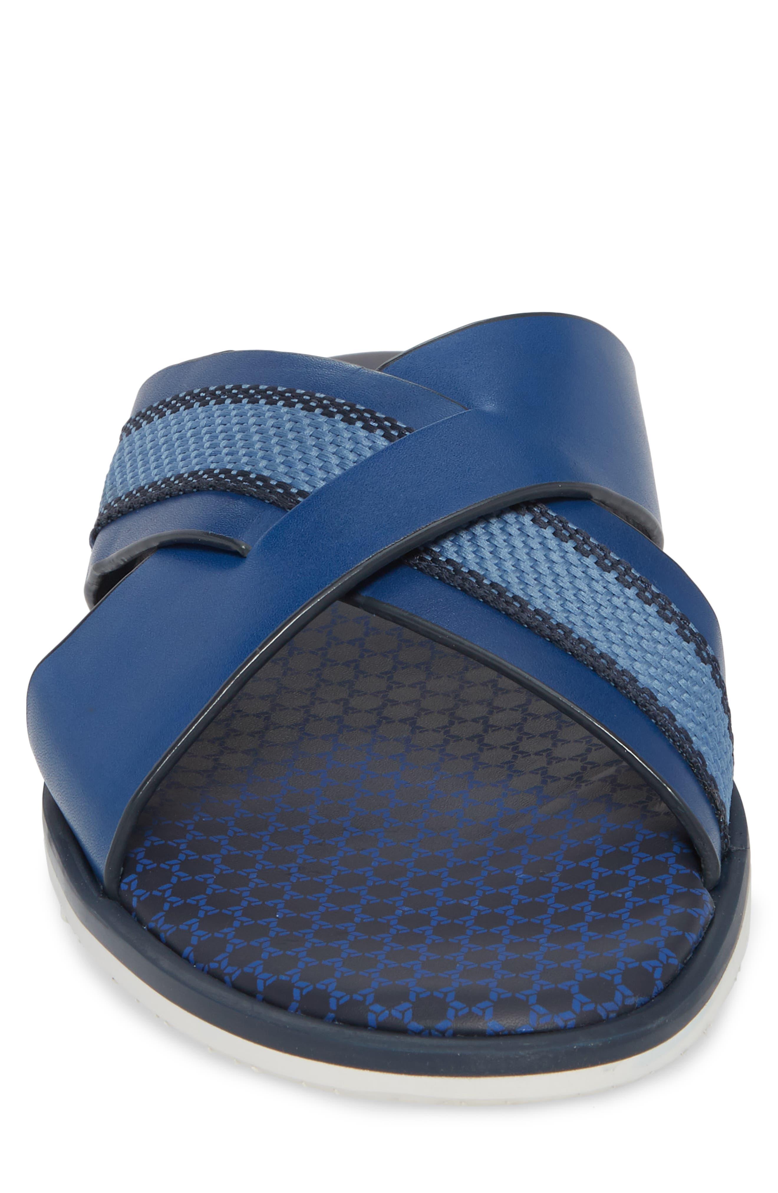 Farrull Cross Strap Slide Sandal,                             Alternate thumbnail 4, color,                             BLUE LEATHER/TEXTILE