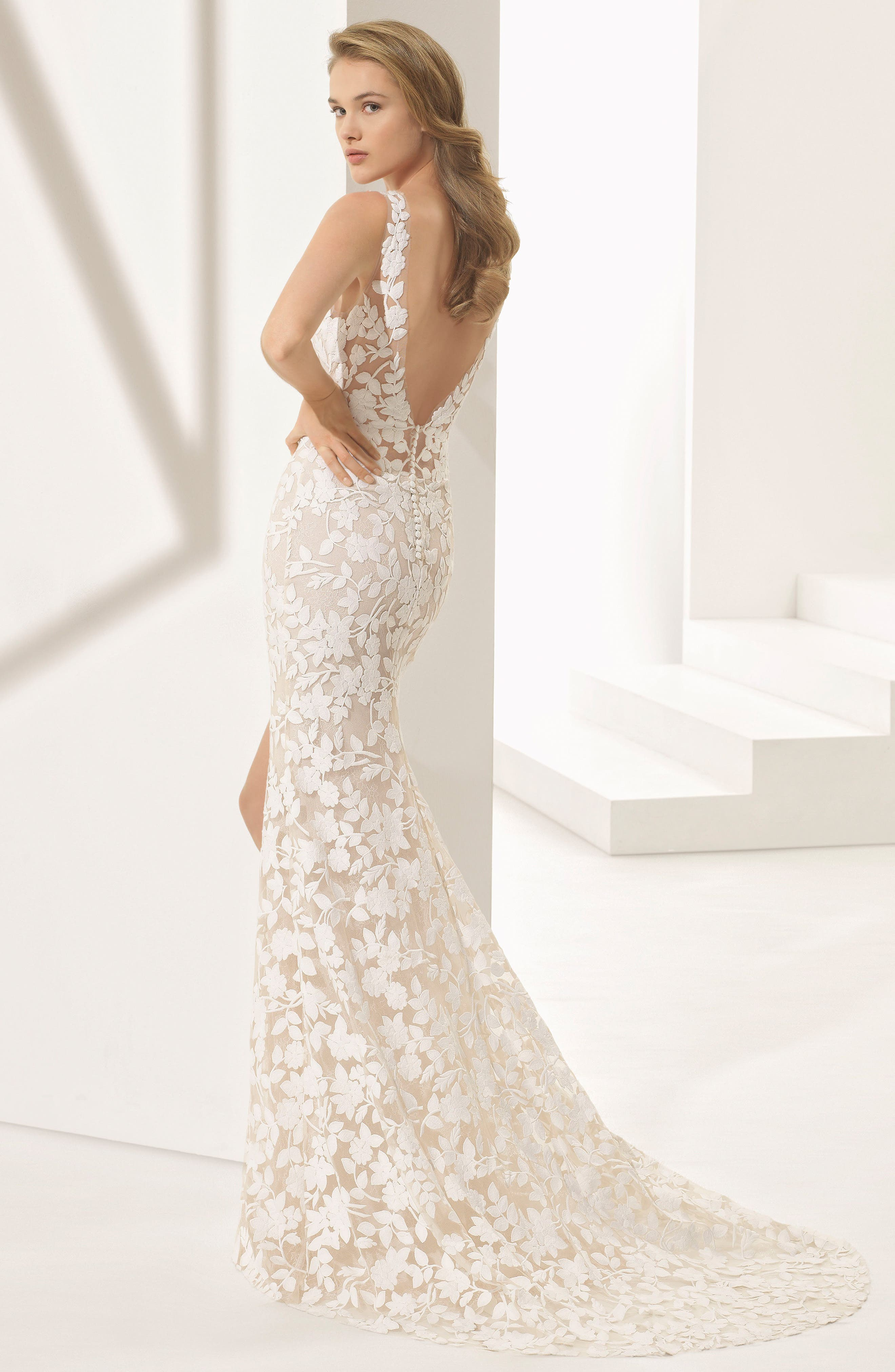 Rosa Clará Couture Panal Guipure Lace Mermaid Gown,                             Alternate thumbnail 2, color,                             NATURAL/ NUDE