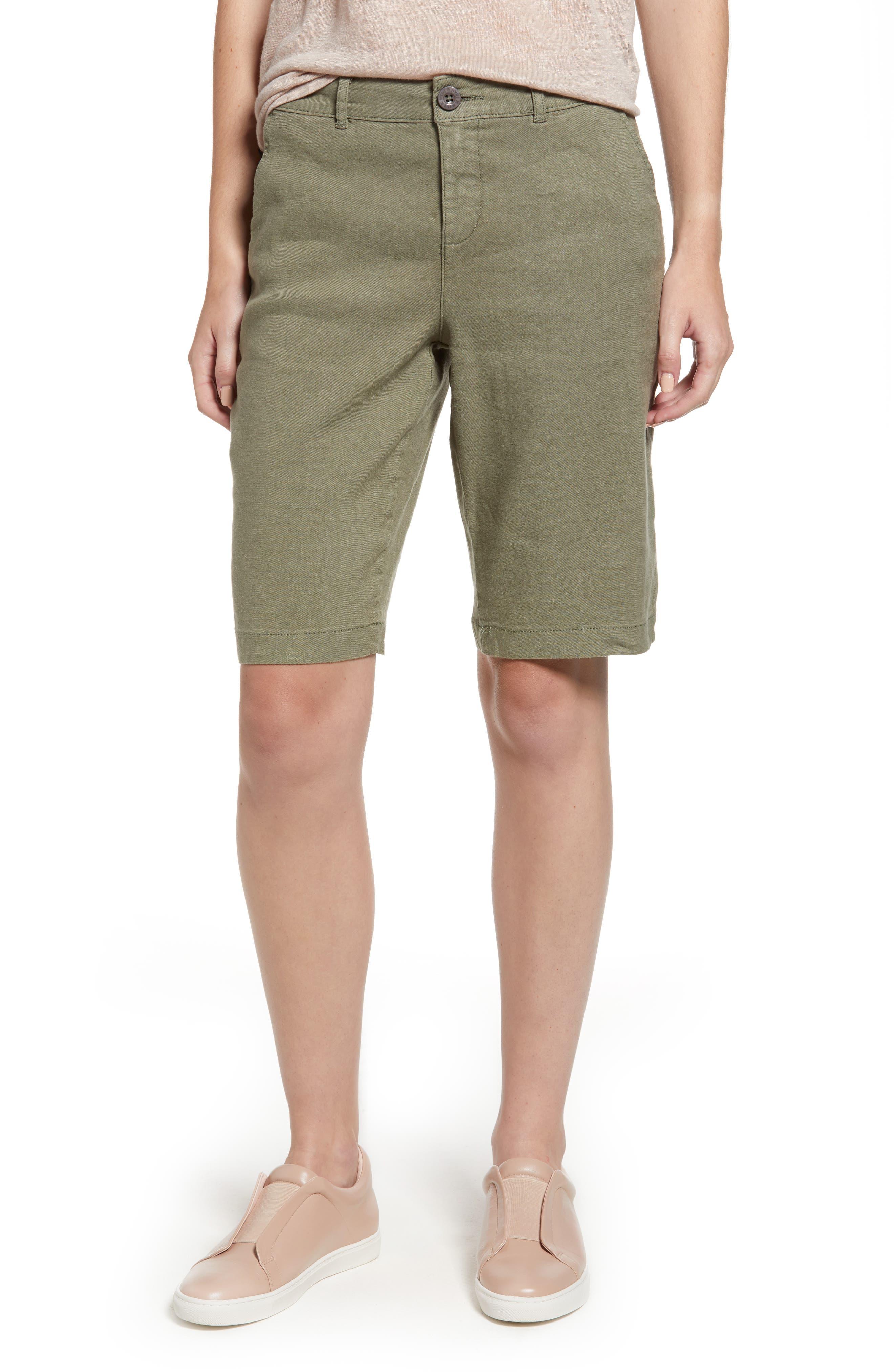 Stretch Linen Blend Bermuda Shorts,                             Main thumbnail 3, color,