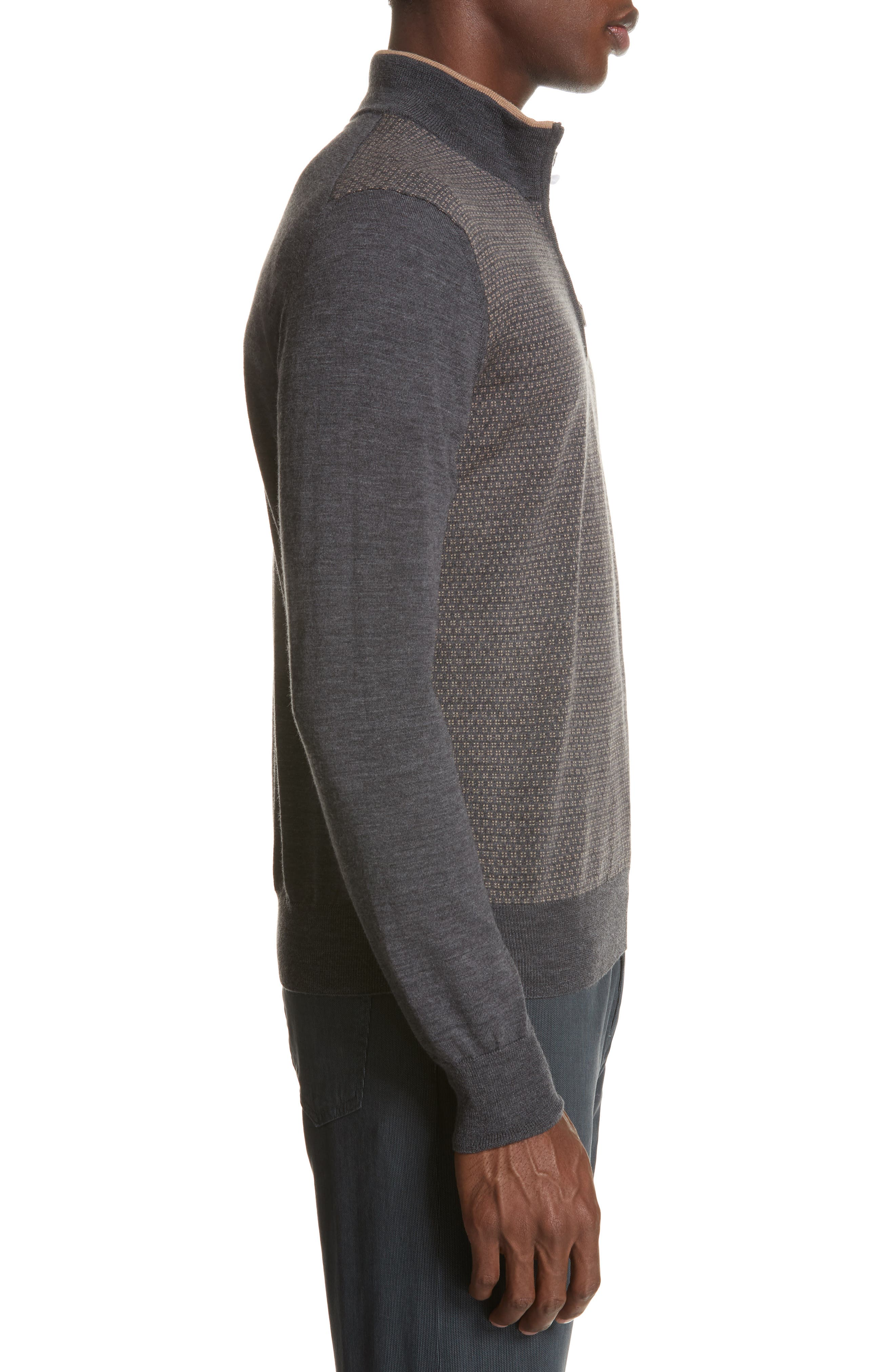 Quarter Zip Wool Sweater,                             Alternate thumbnail 3, color,                             020