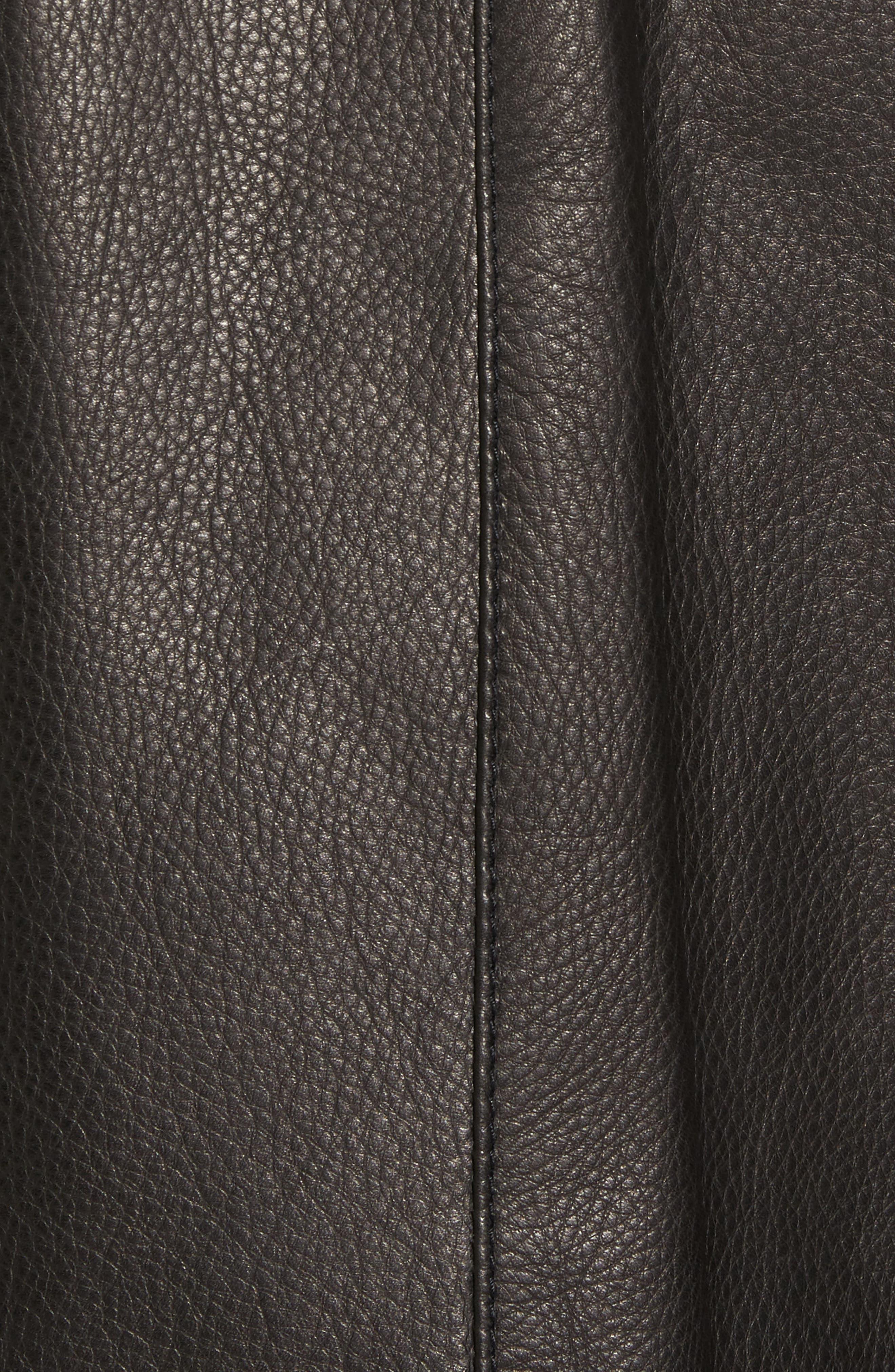 Leather Varsity Jacket,                             Alternate thumbnail 6, color,