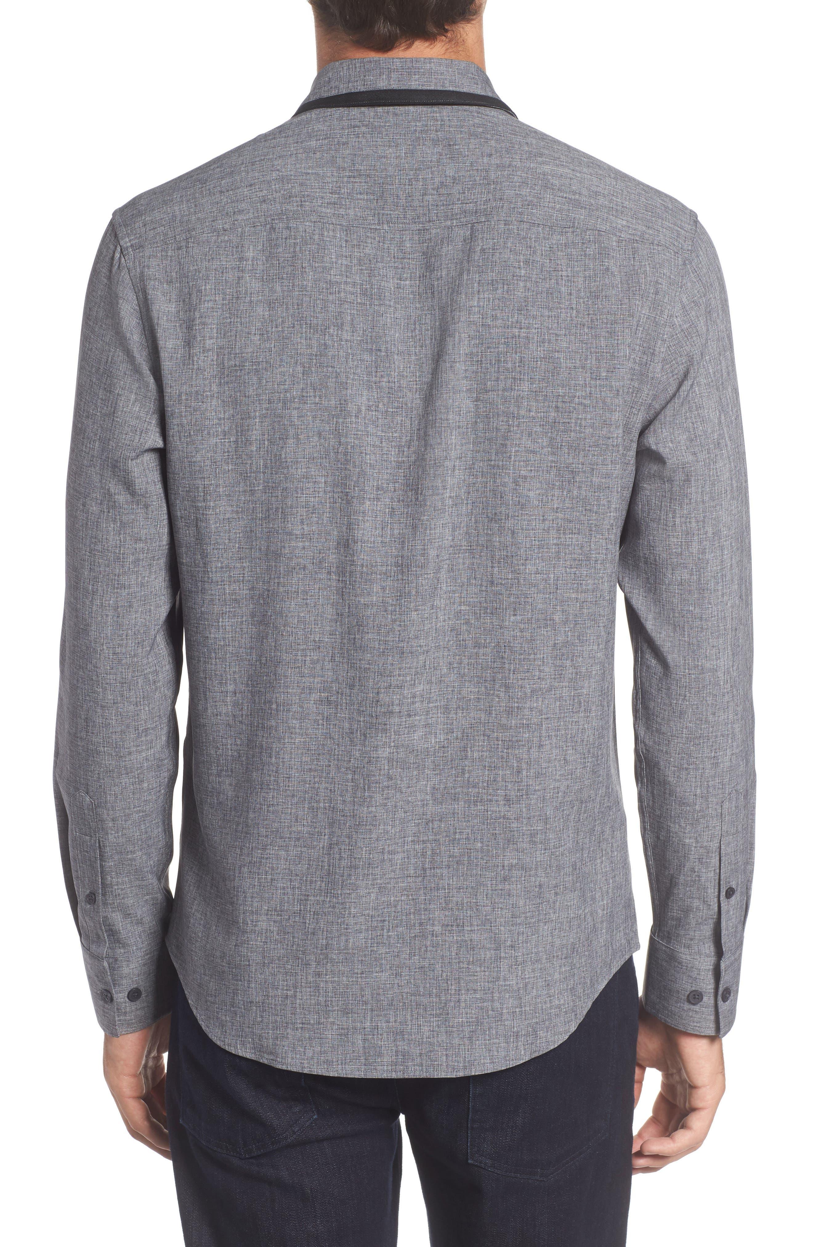 Trim Fit Performance Knit Sport Shirt,                             Alternate thumbnail 2, color,                             CHARCOAL SCRATCH