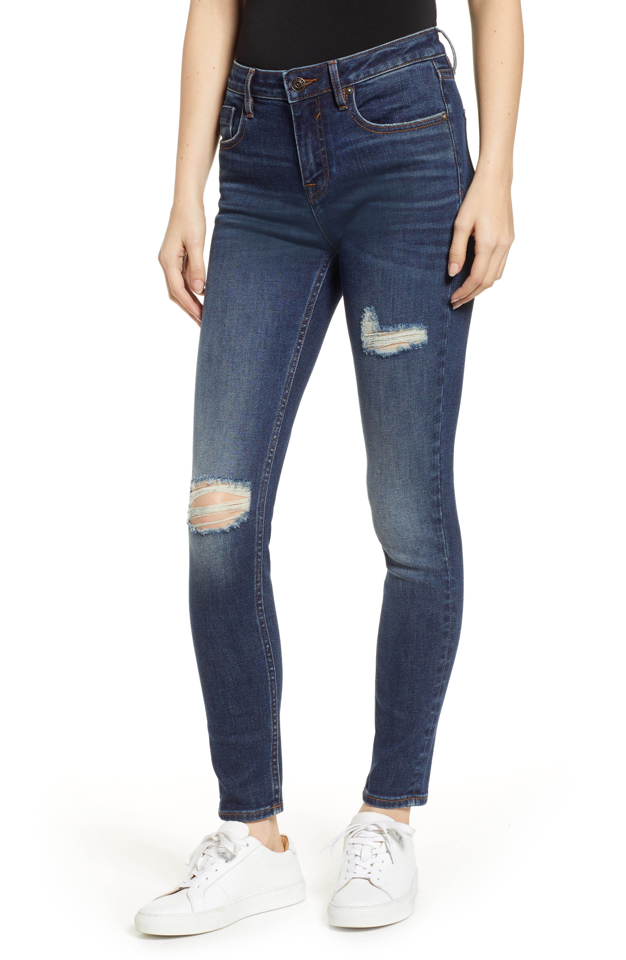Marley Ripped Skinny Jeans, Main, color, DARK WASH