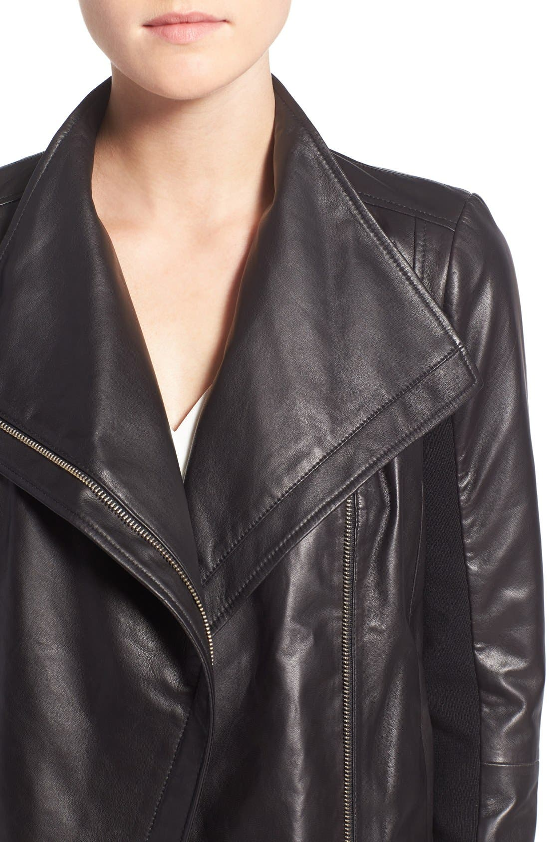 Leather Moto Jacket,                             Alternate thumbnail 12, color,                             BLACK