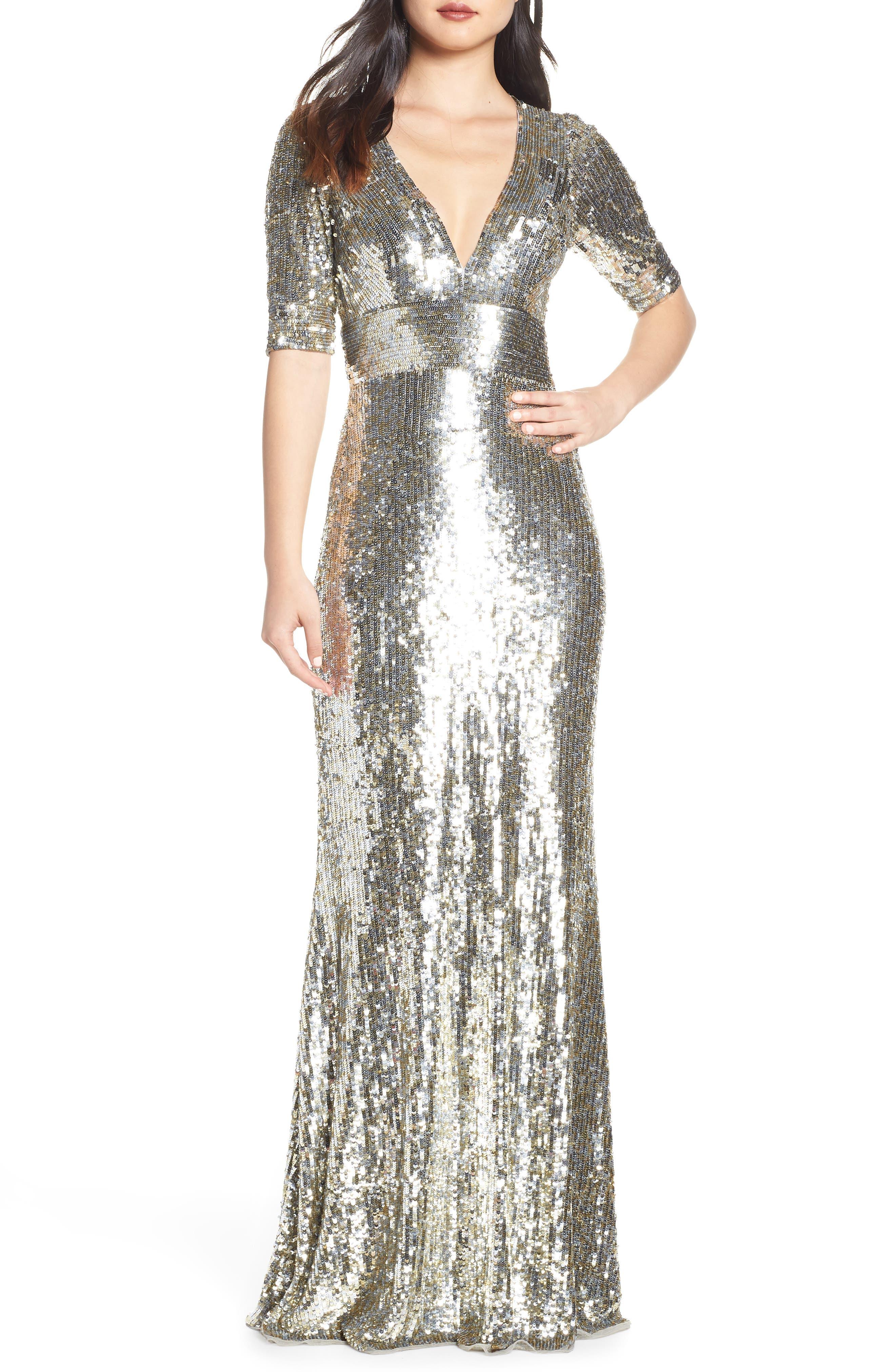 MAC DUGGAL Sequin Stripe Evening Dress, Main, color, PLATINUM