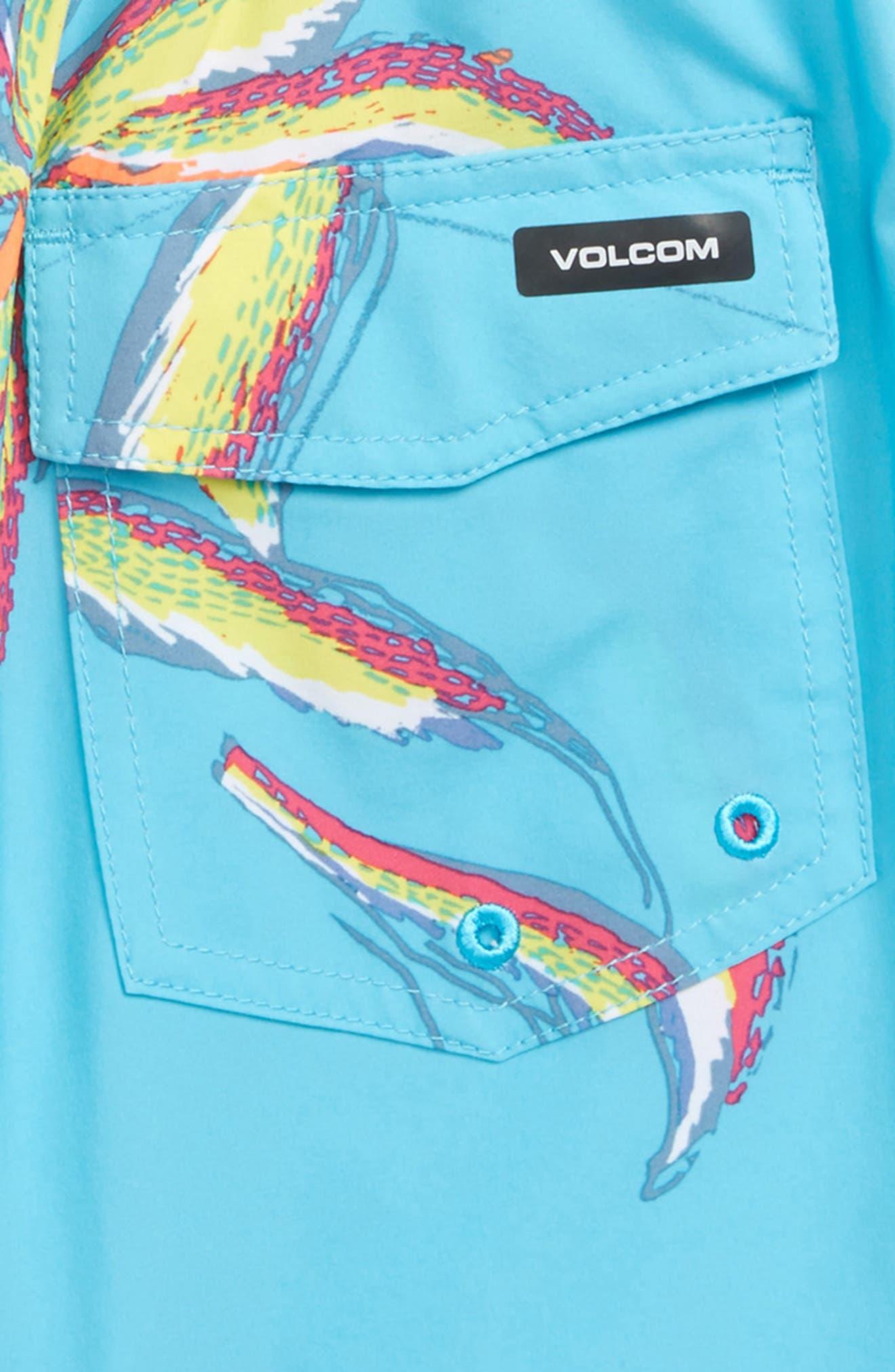 Tropical Print Board Shorts,                             Alternate thumbnail 3, color,                             DUSTY AQUA
