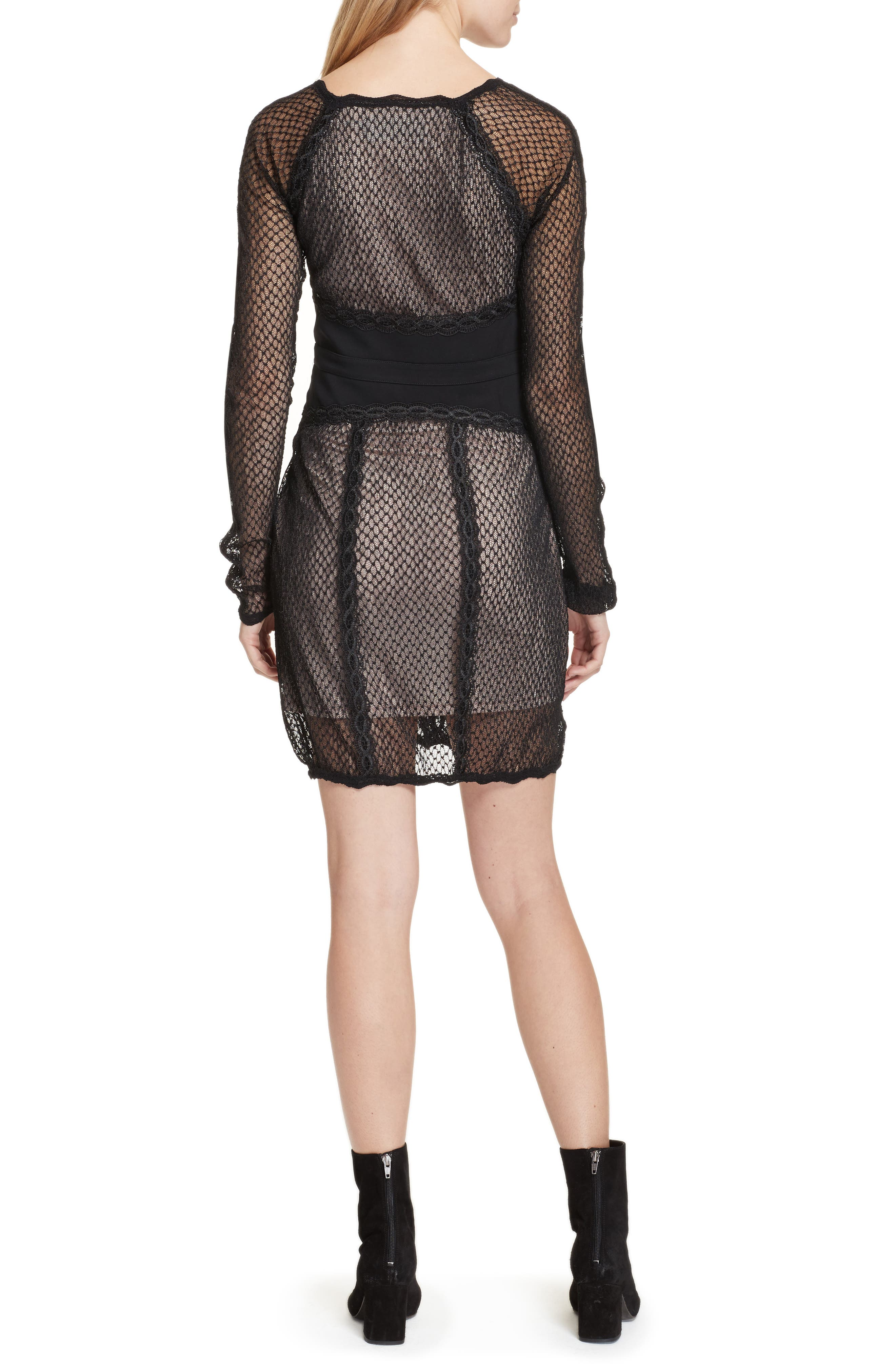 Lace & Mesh Body-Con Dress,                             Alternate thumbnail 2, color,                             001