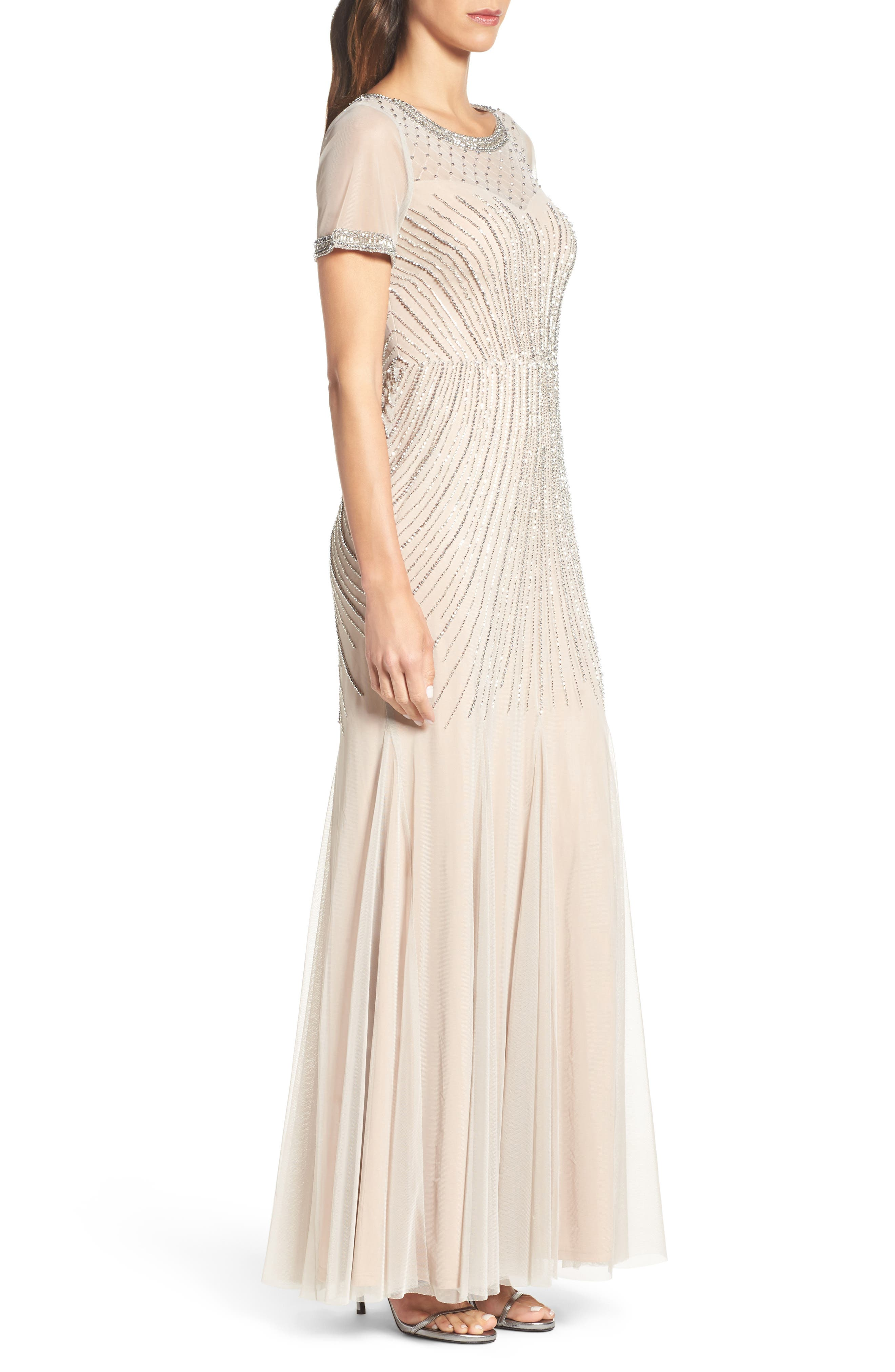 Beaded Mesh Gown,                             Alternate thumbnail 3, color,                             250